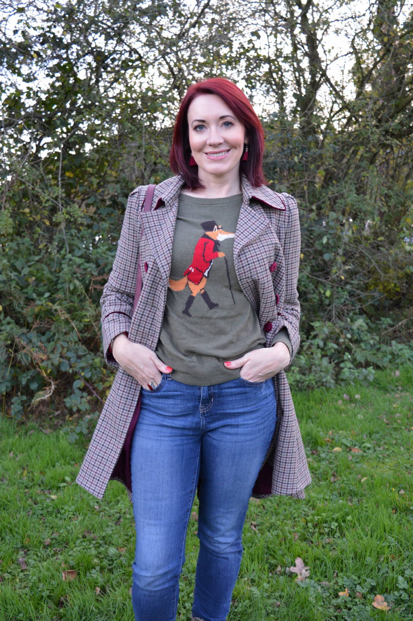 Checked Coat and Wide Brim Hat for a Walk in the Forest Joules fox jumper