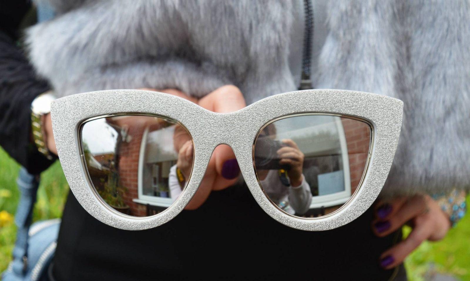 River Island silver glitter sunglasses