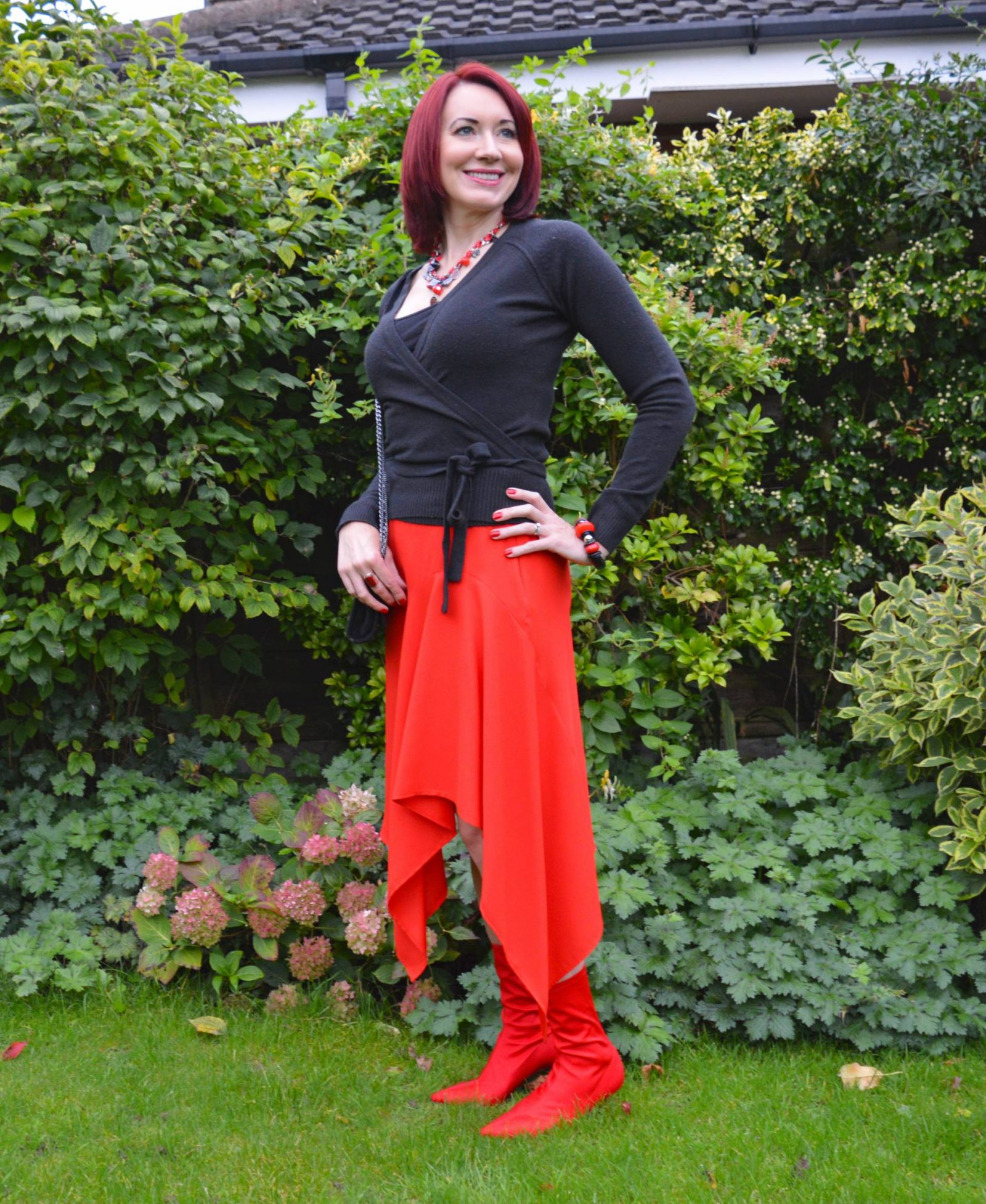 Red Skirt and Sock Boots Coast asymmetric red skirt Raid red sock boots