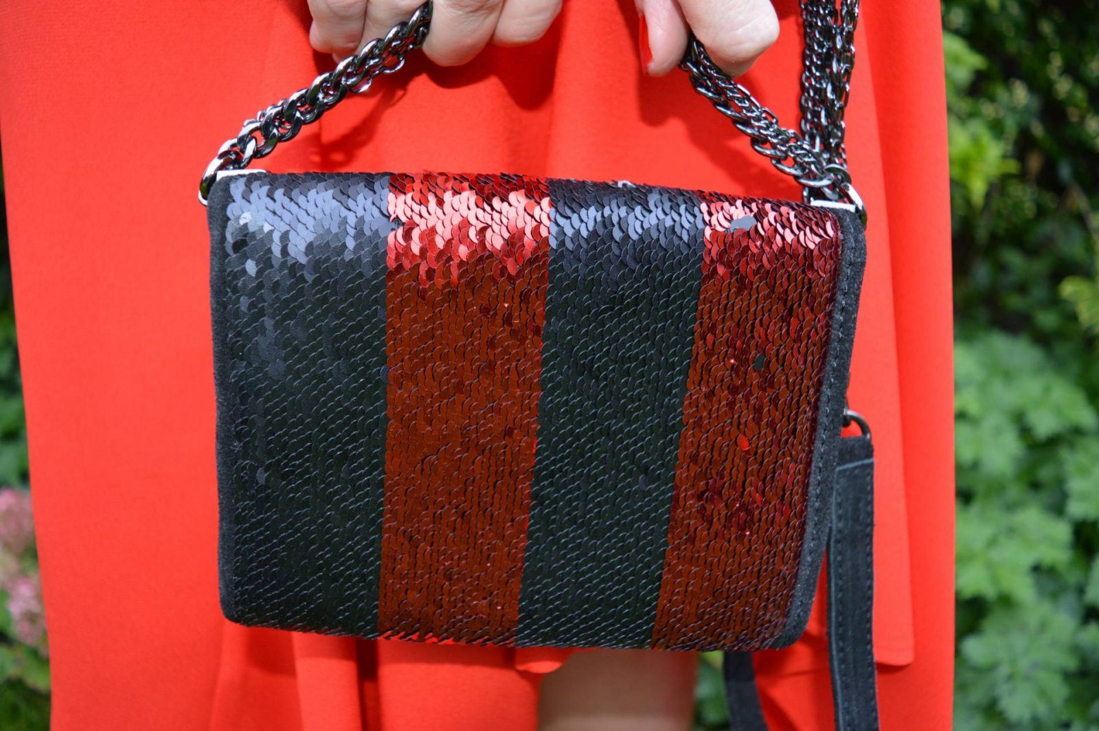 Red Skirt and Sock Boots Zara sequin bag