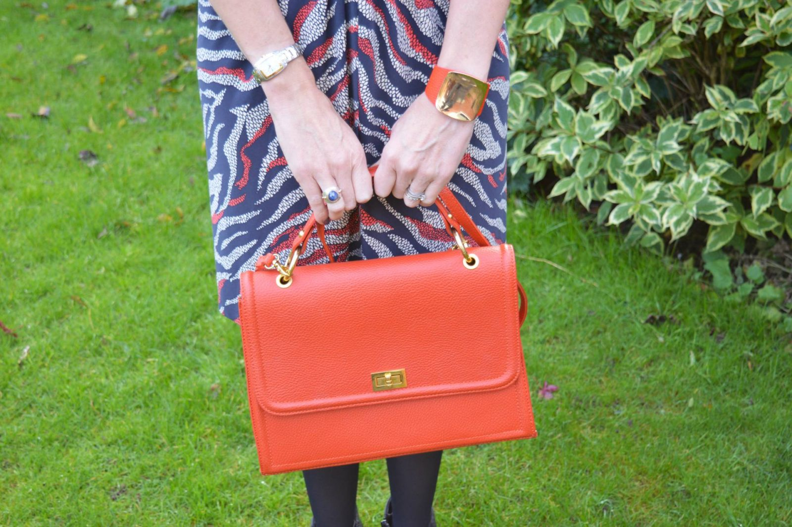 Anne Klein Dress for Less Than a Fiver orange leather bag Mango orange cuff
