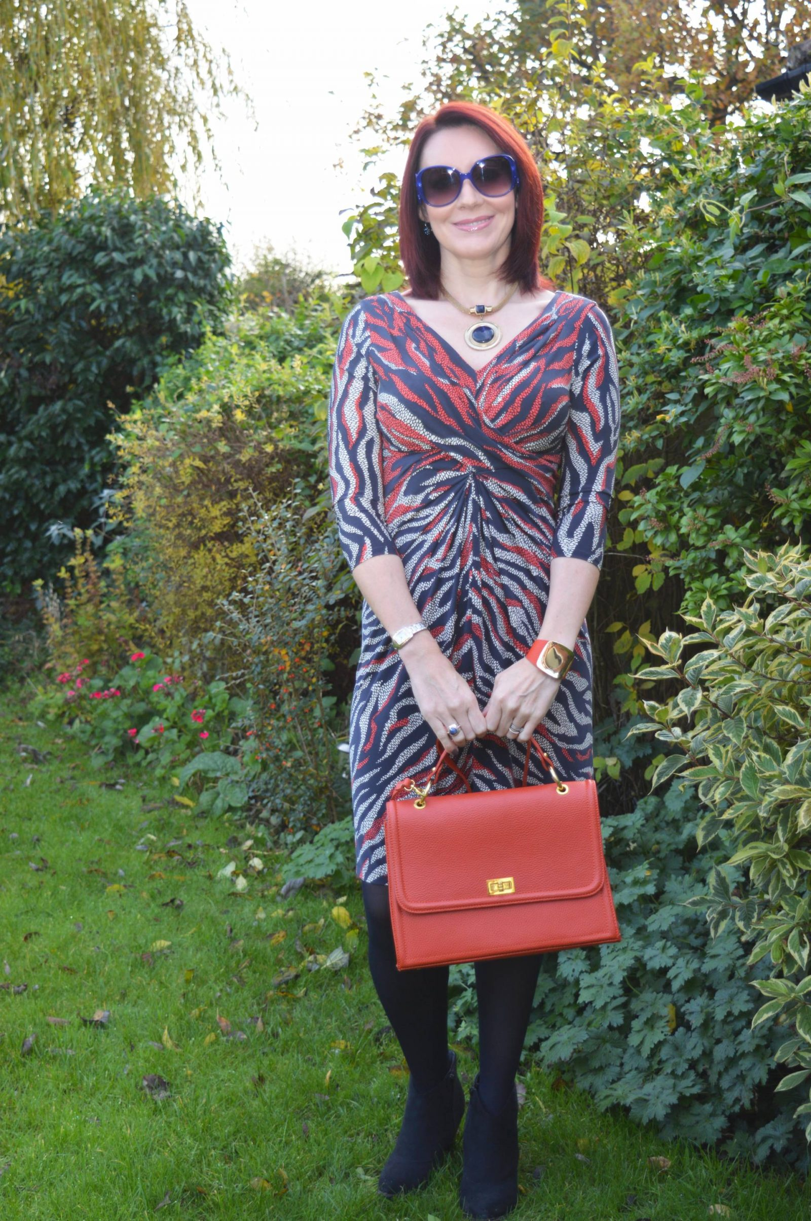 Anne Klein Dress for Less Than a Fiver orange leather bag