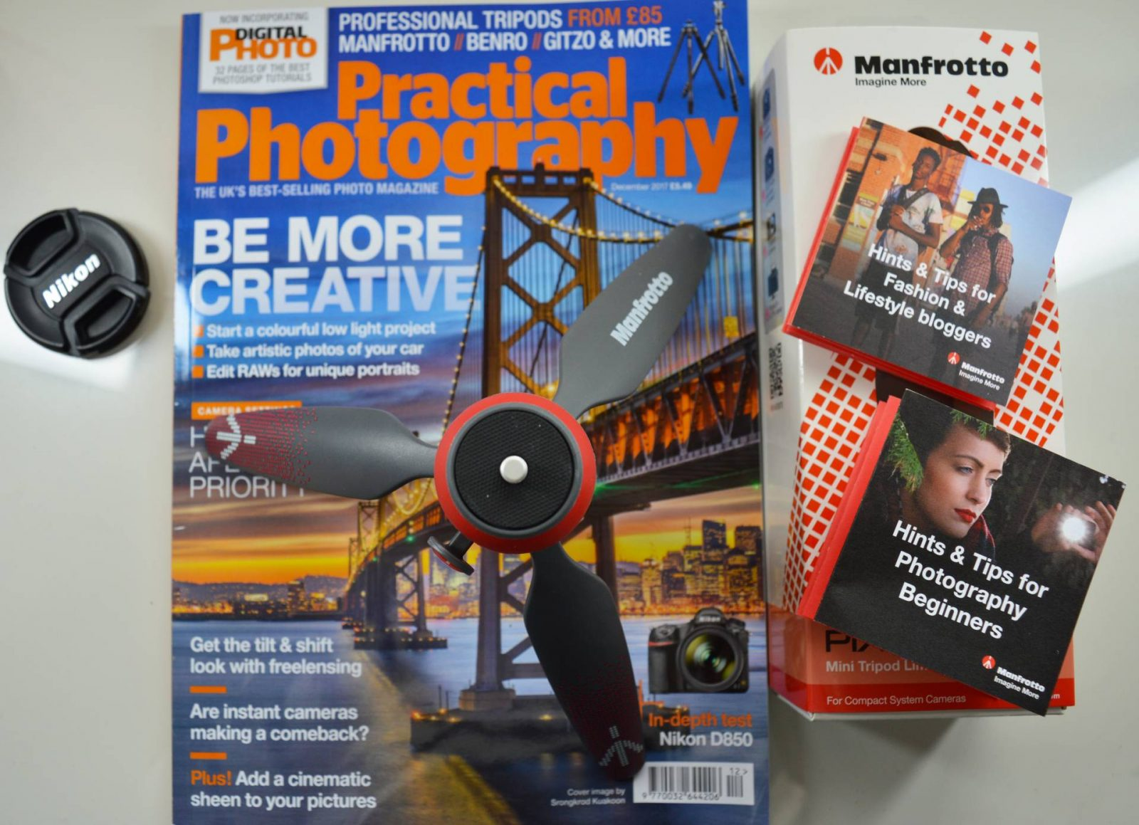 Manfrotto Photography Workshop in Manchester goody bag, practical photography magazine, Manfrotto Pix mini tripod