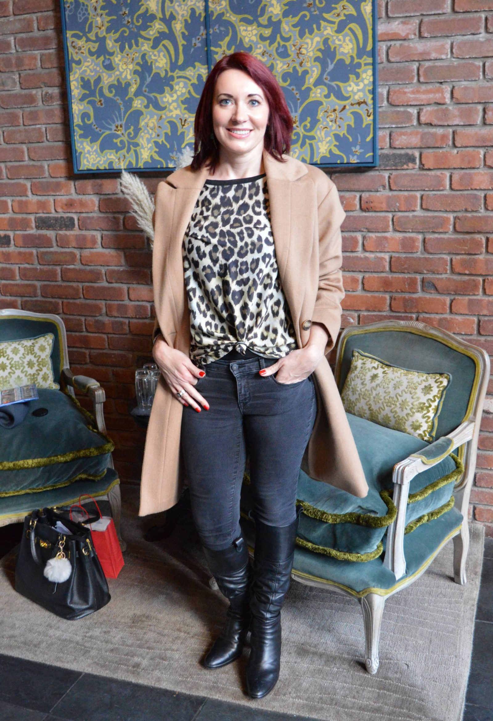 Manfrotto Photography Workshop in Manchester camel coat, leopard print top