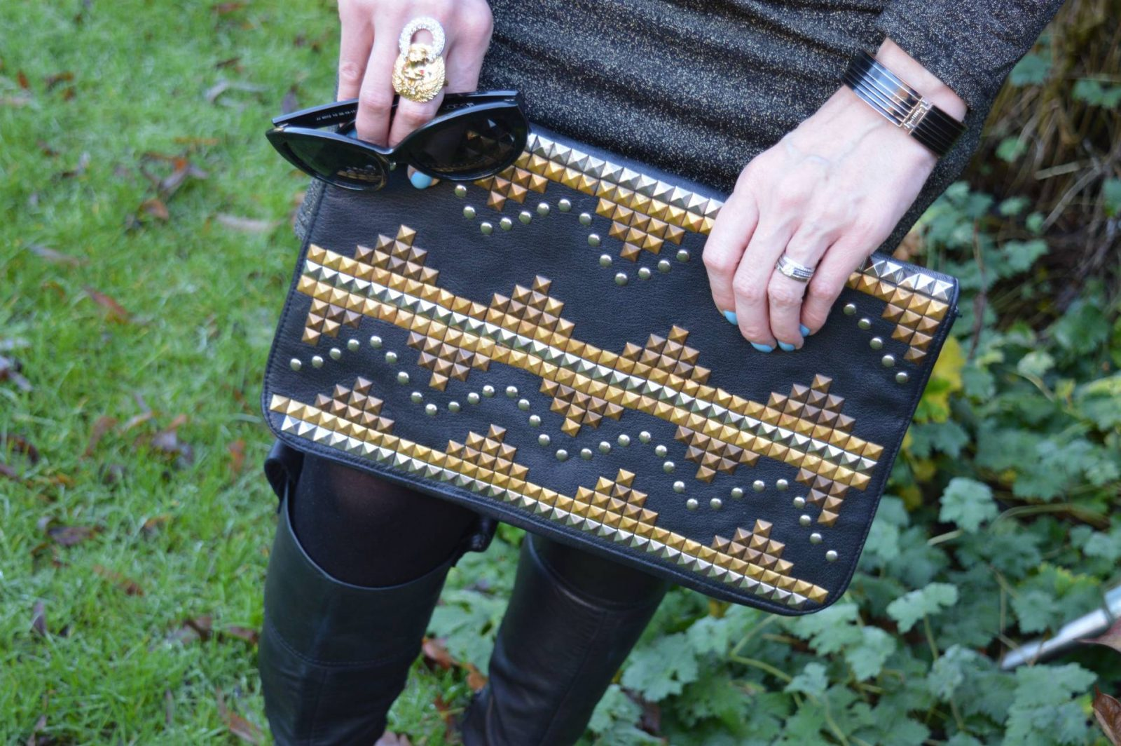 Gold Lurex Dress and Knee Boot black studded oversized clutch
