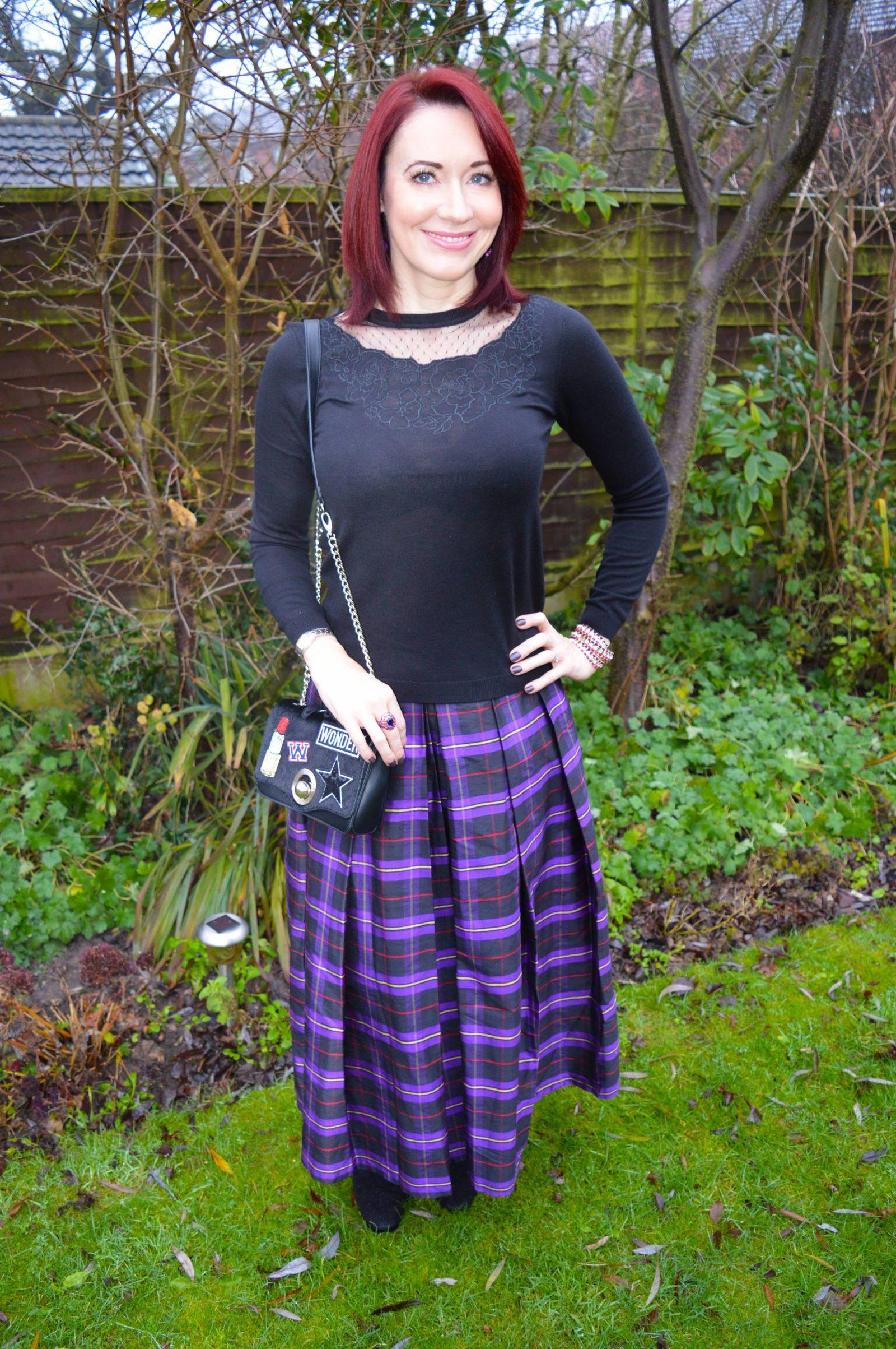 Plaid Taffeta Maxi Skirt