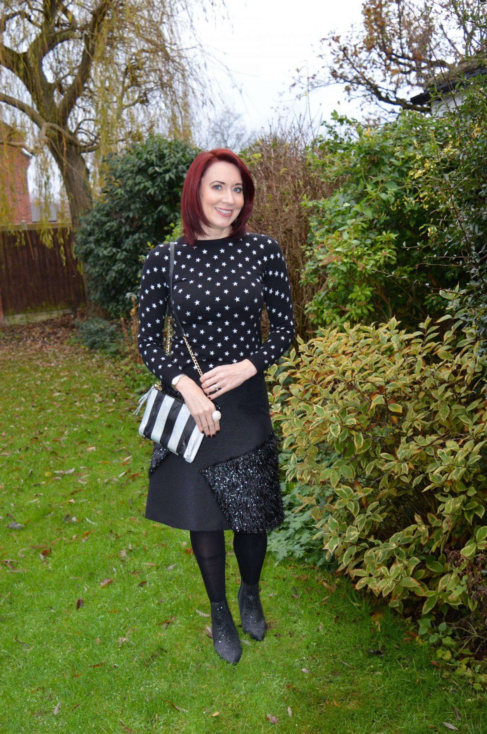 Black Tinsel Skirt, Glitter Boots and Star Jumper