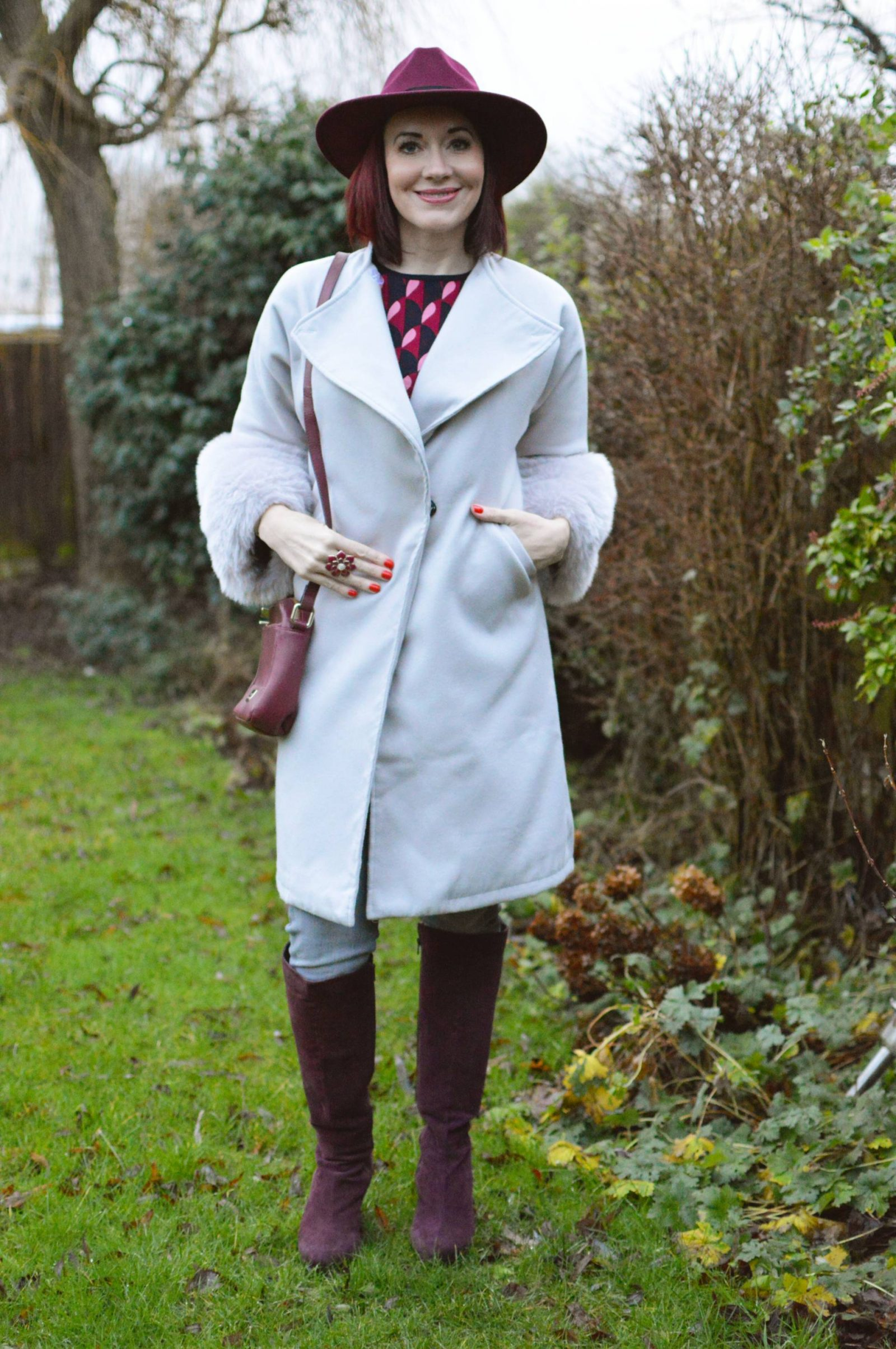 Grey Faux Fur Trim Coat With Burgundy Accents