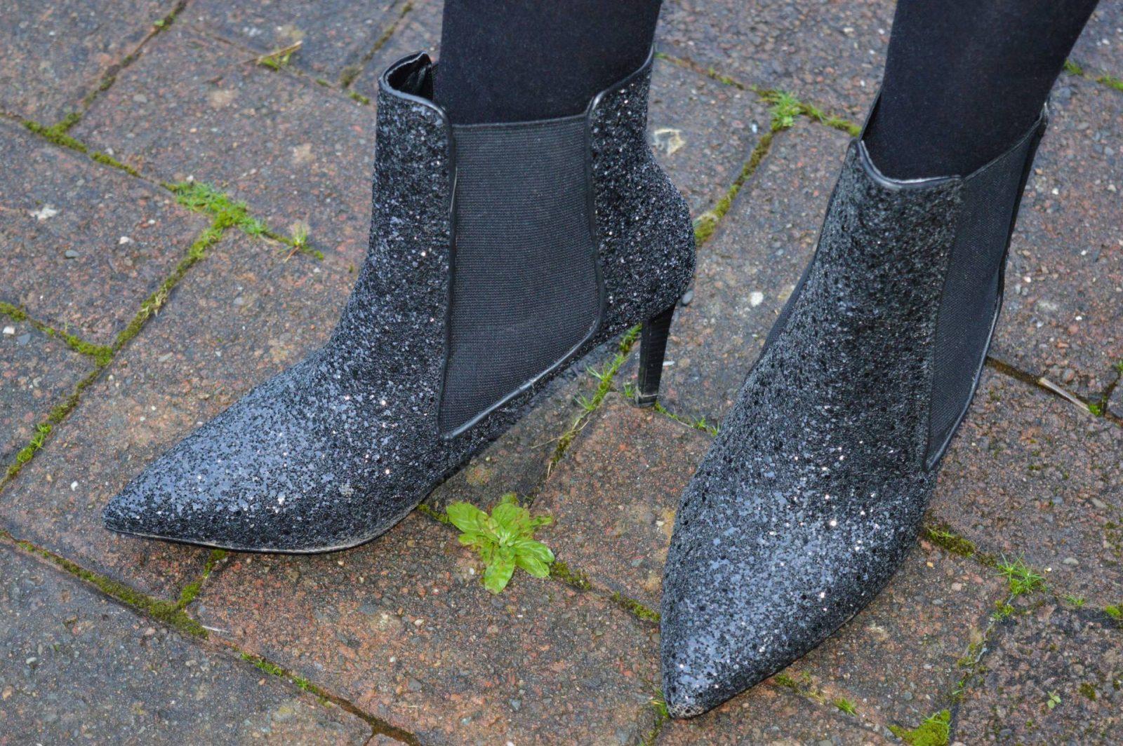 Zara black glitter ankle boots