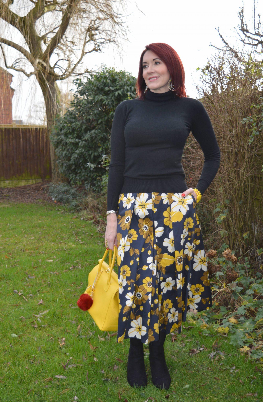 Floral Print Midi Skirt and Biker Jacket