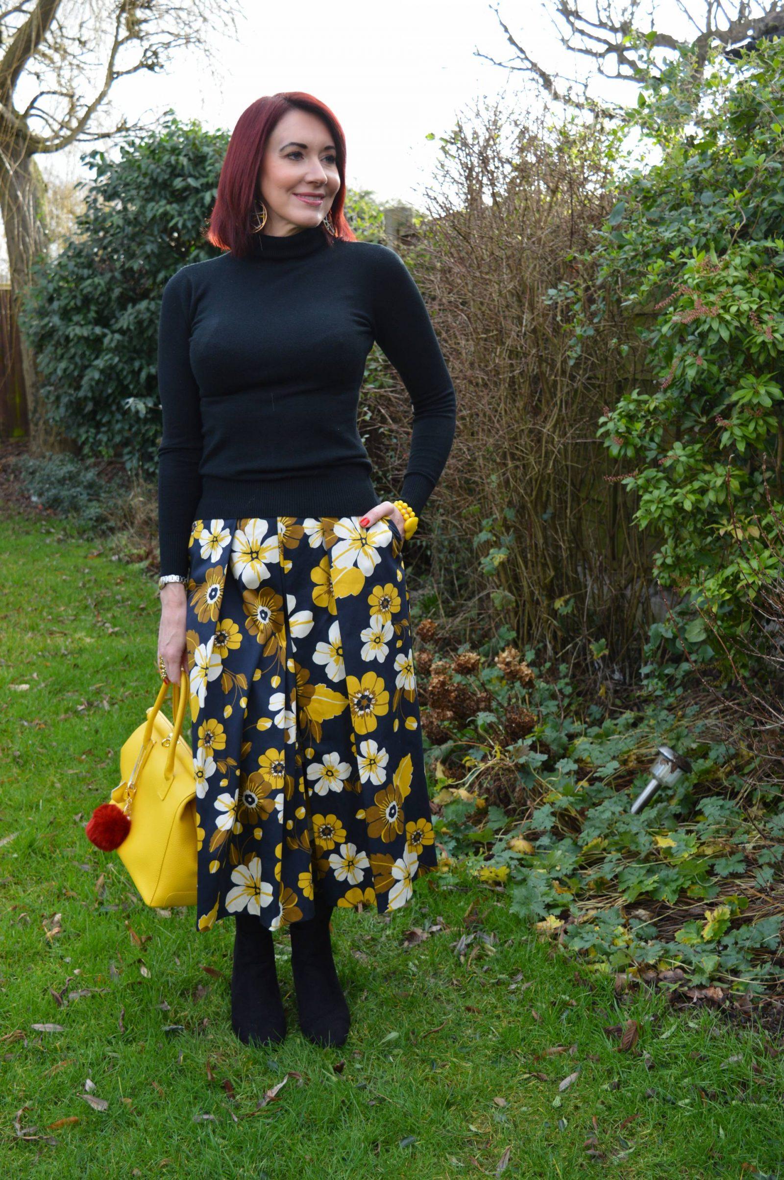 Floral Print Midi Skirt and Biker Jacket + Link Up