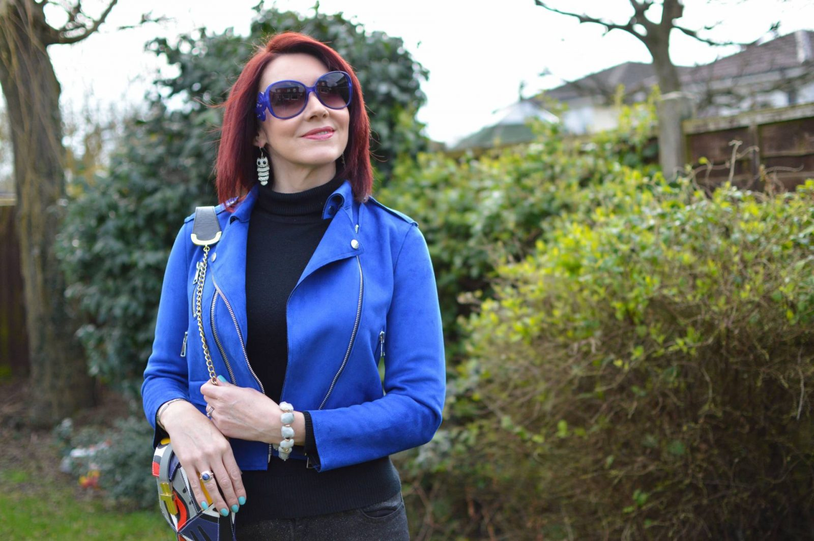 Blue Biker Jacket and Skinny Glitter Jeans