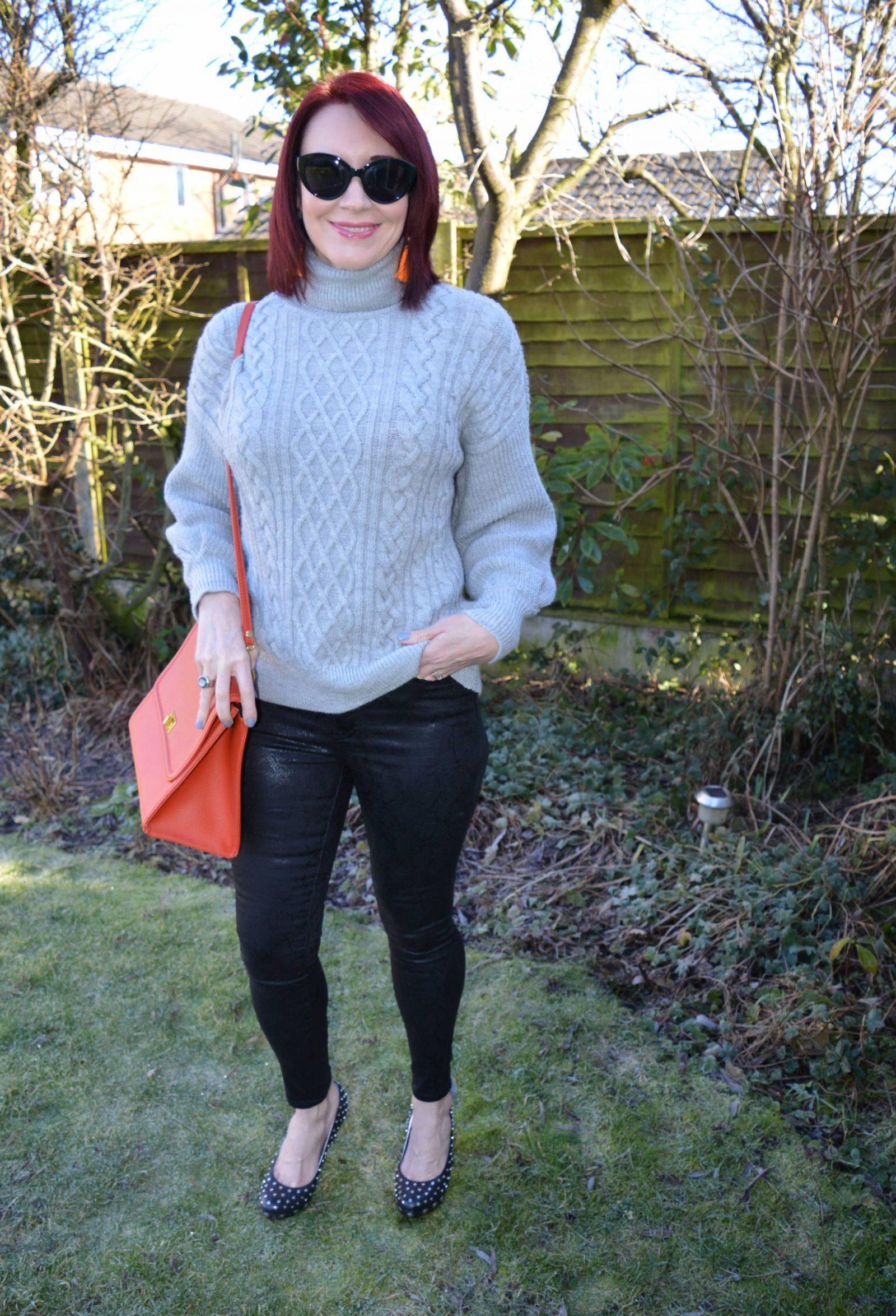Snakeprint Skinny Jeans and Cable Knit Jumper Simply Be Chloe snakeprint skinny jeans, F&F grey cable knit jumper, Ted Baker studded shoes
