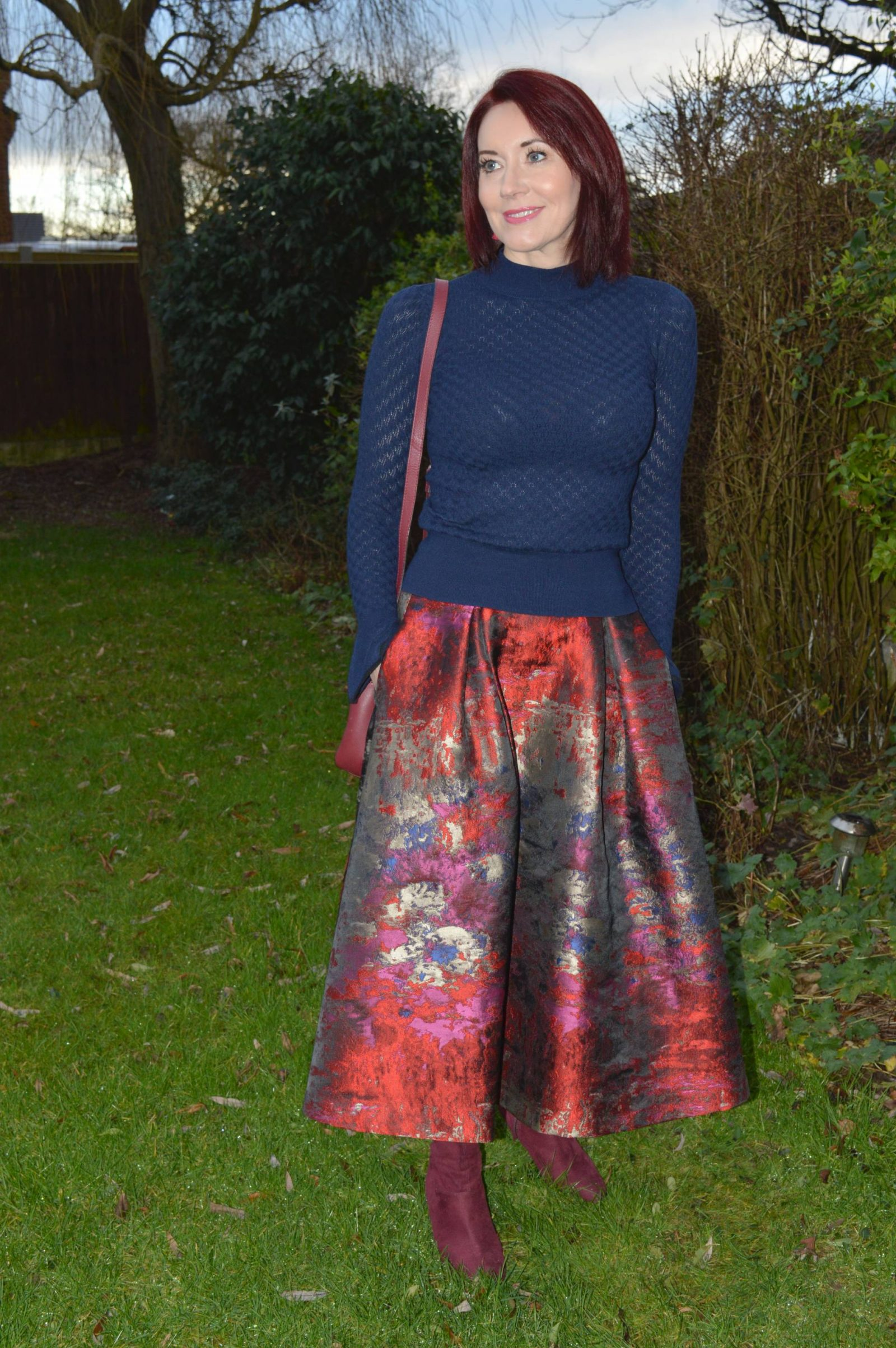 Jacquard Skirt and Navy Flared Sleeve Jumper