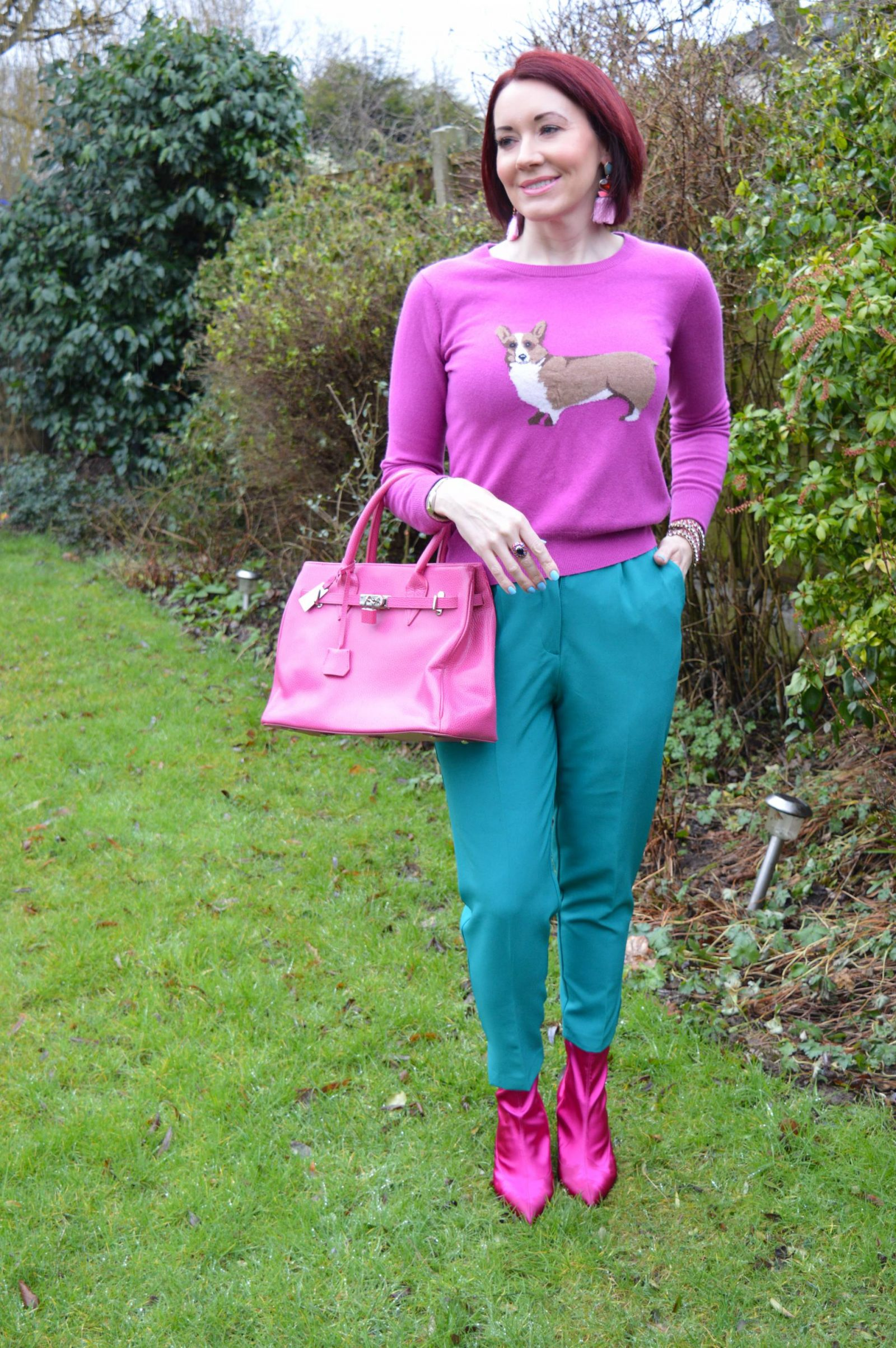 Pink Joules Corgi Jumper and Bright Green Trousers