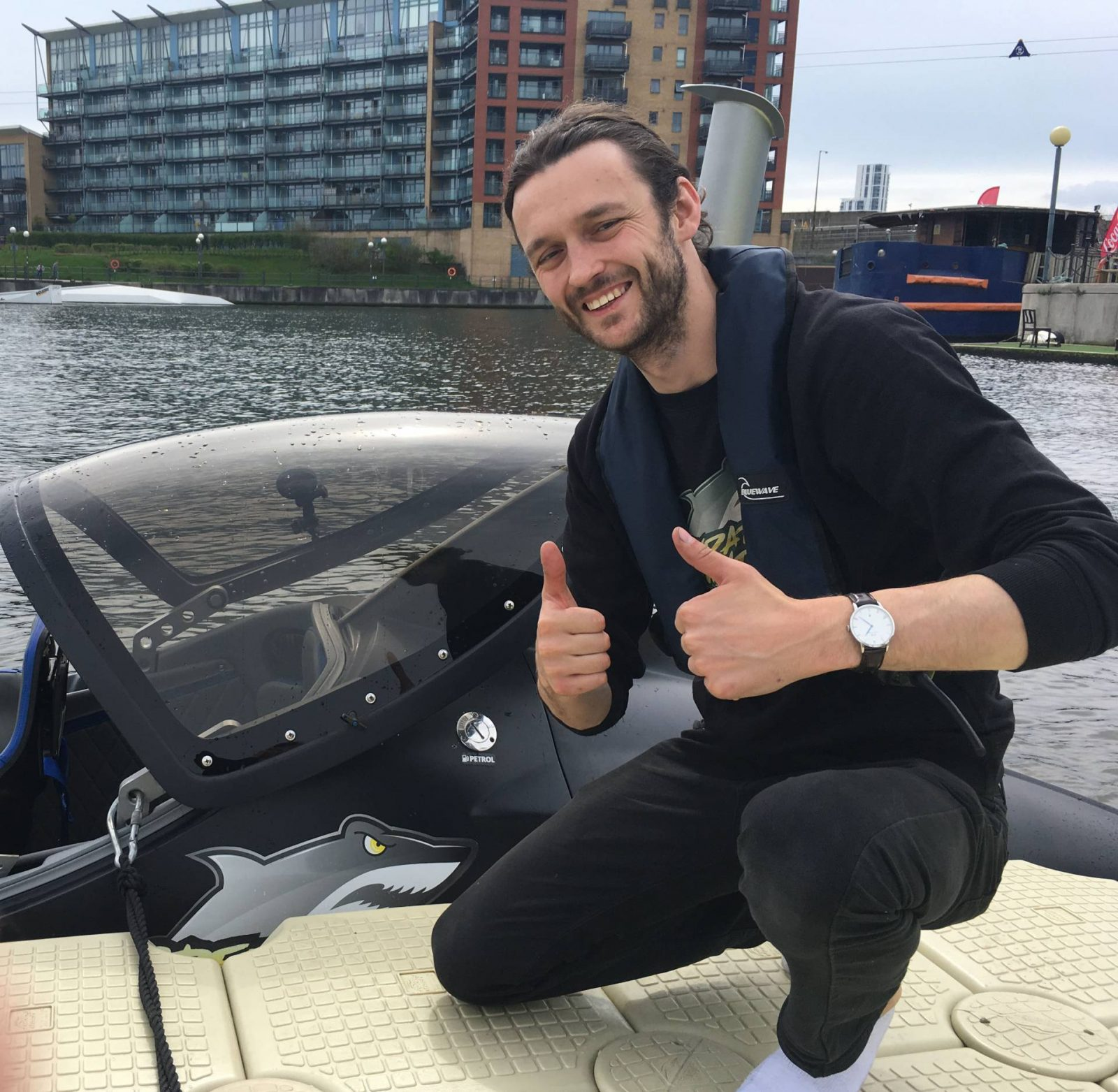 Trying Out the Seabreacher at London's Royal Victoria Docks, Adam the Seabreacher pilot