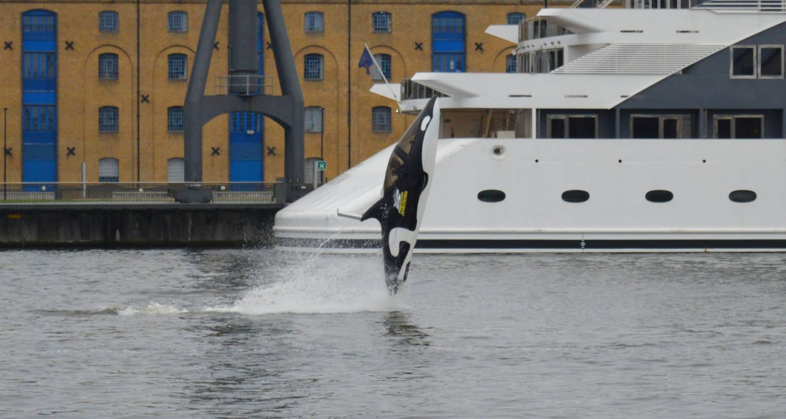 Trying Out the Seabreacher at London's Royal Victoria Docks, Seabreacher leaping out of the water
