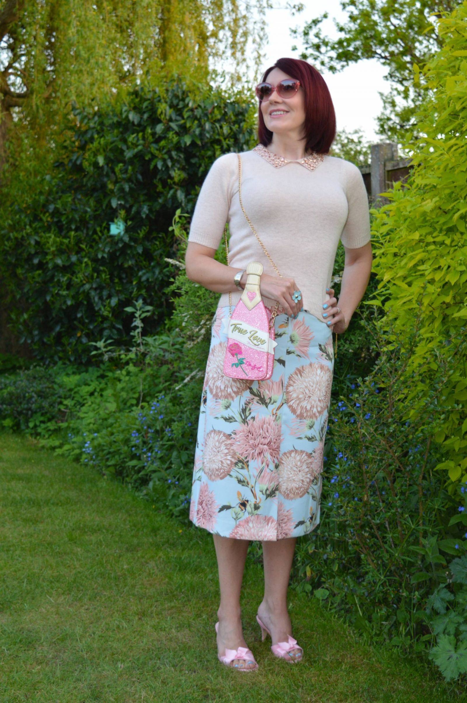 Floral Print Pencil Skirt and a Novelty Bag, Warehouse carnation print skirt, Skinny Dip wine bottle crossbody bag