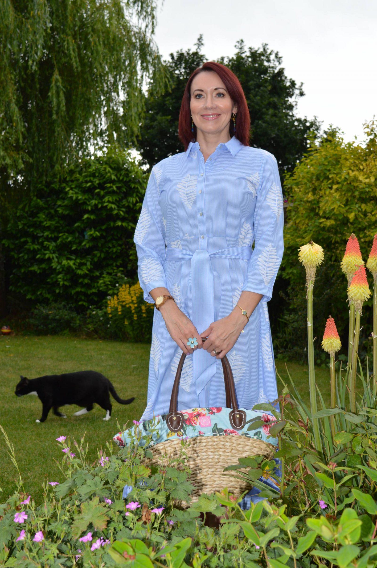 Blue and white striped long shirt dress, Joules straw shopper bag