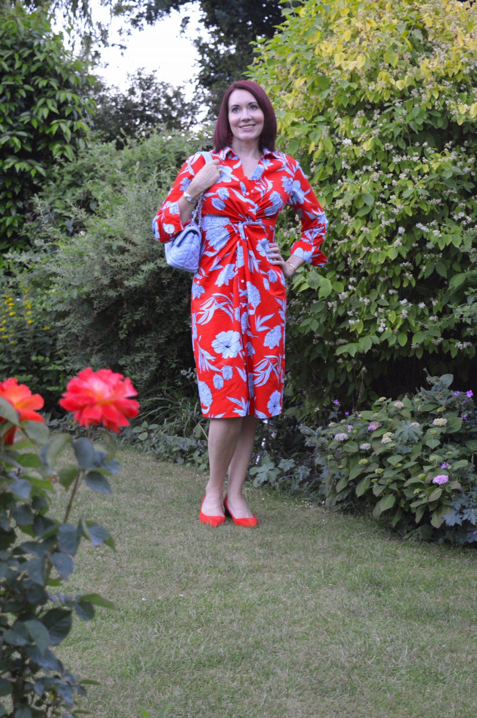 Red and blue floral print shirt dress
