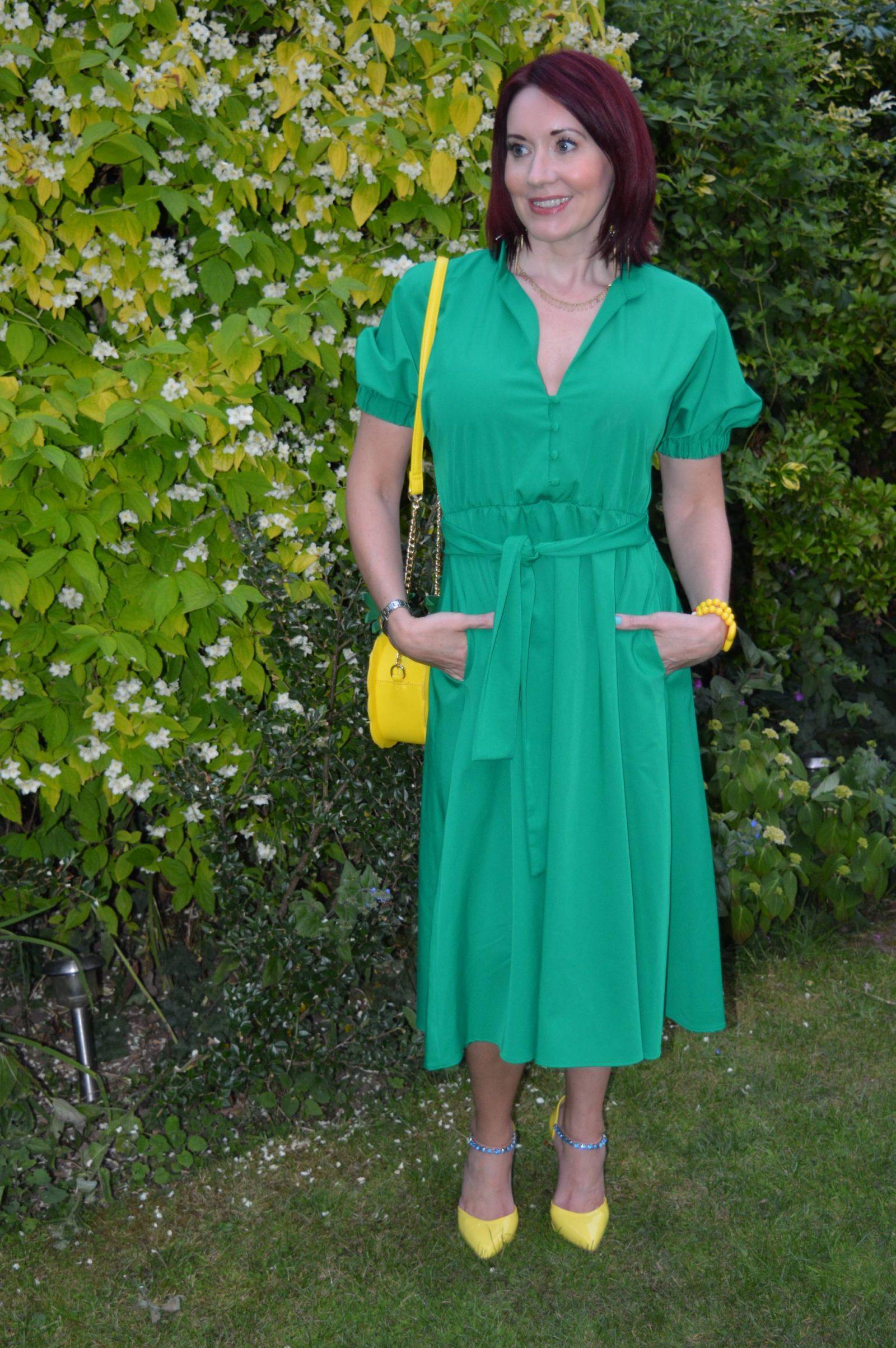 Zara Green midi dress and pineapple bag