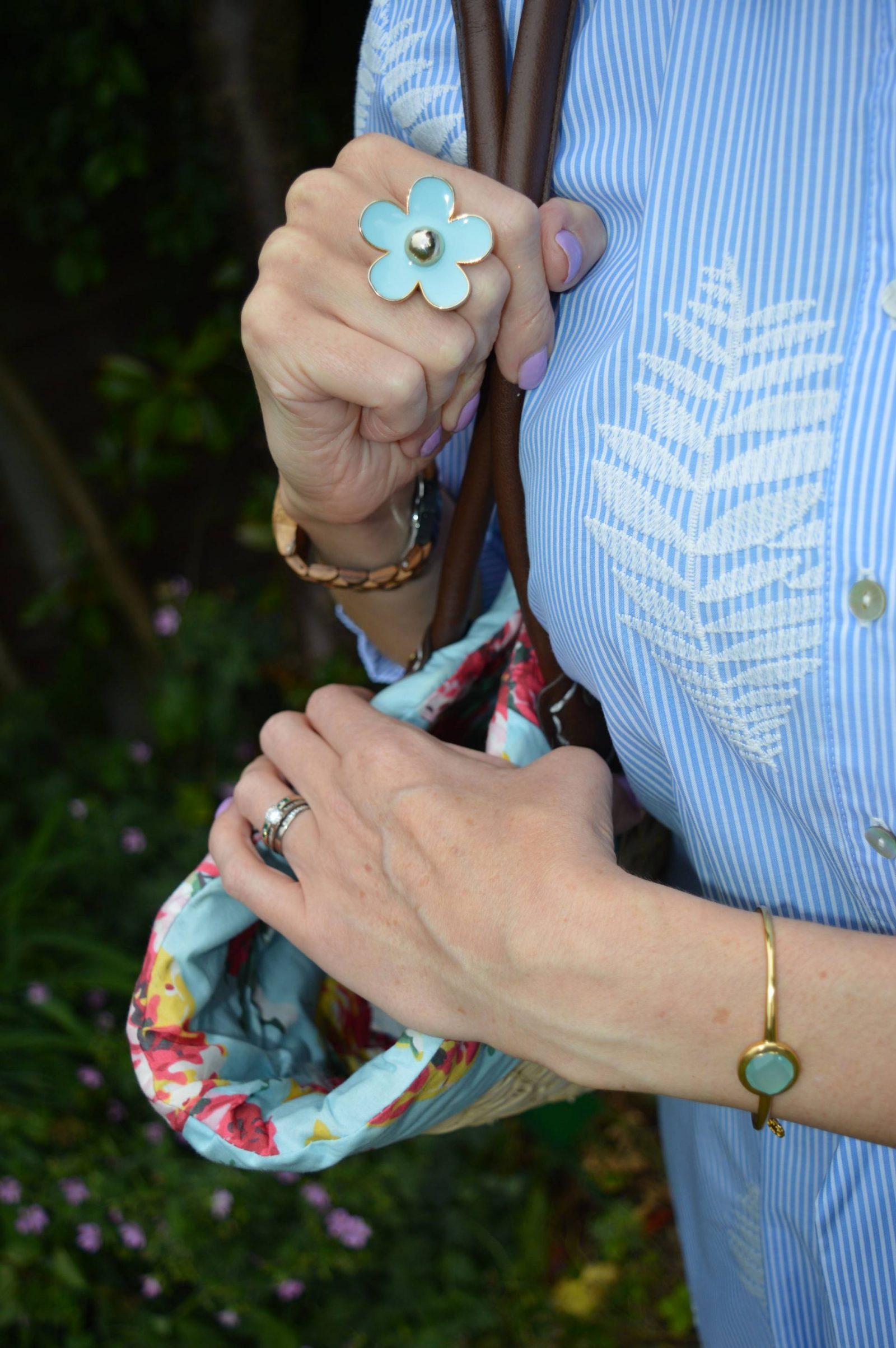 Blue and white striped long shirt dress, flower ring, Azuni Hermia bangle