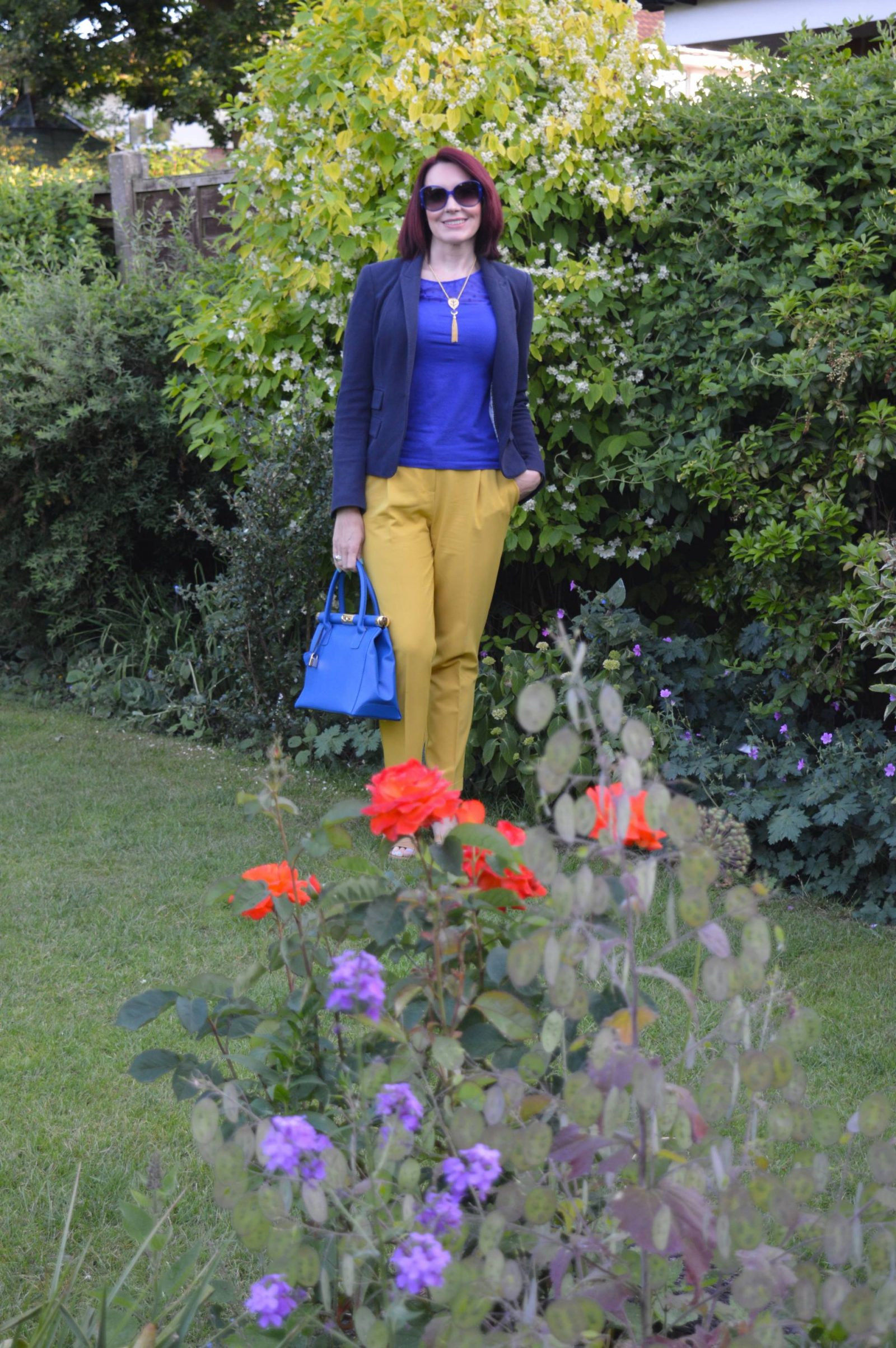 Mustard trousers and cobalt top