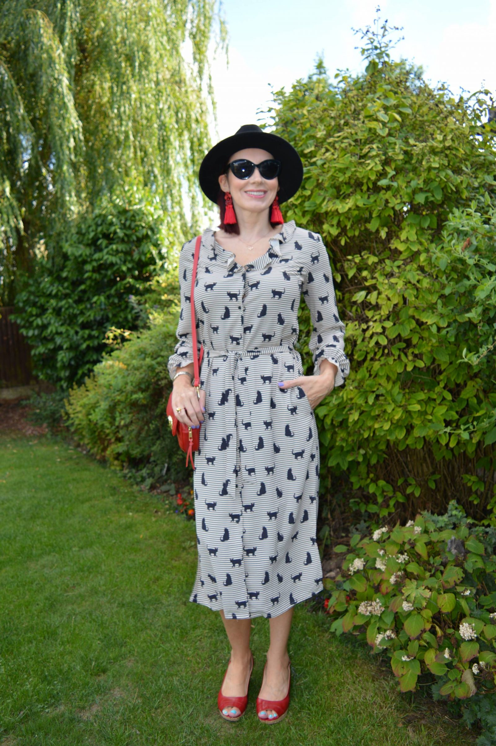 Next Cat print shirt dress with red accessories