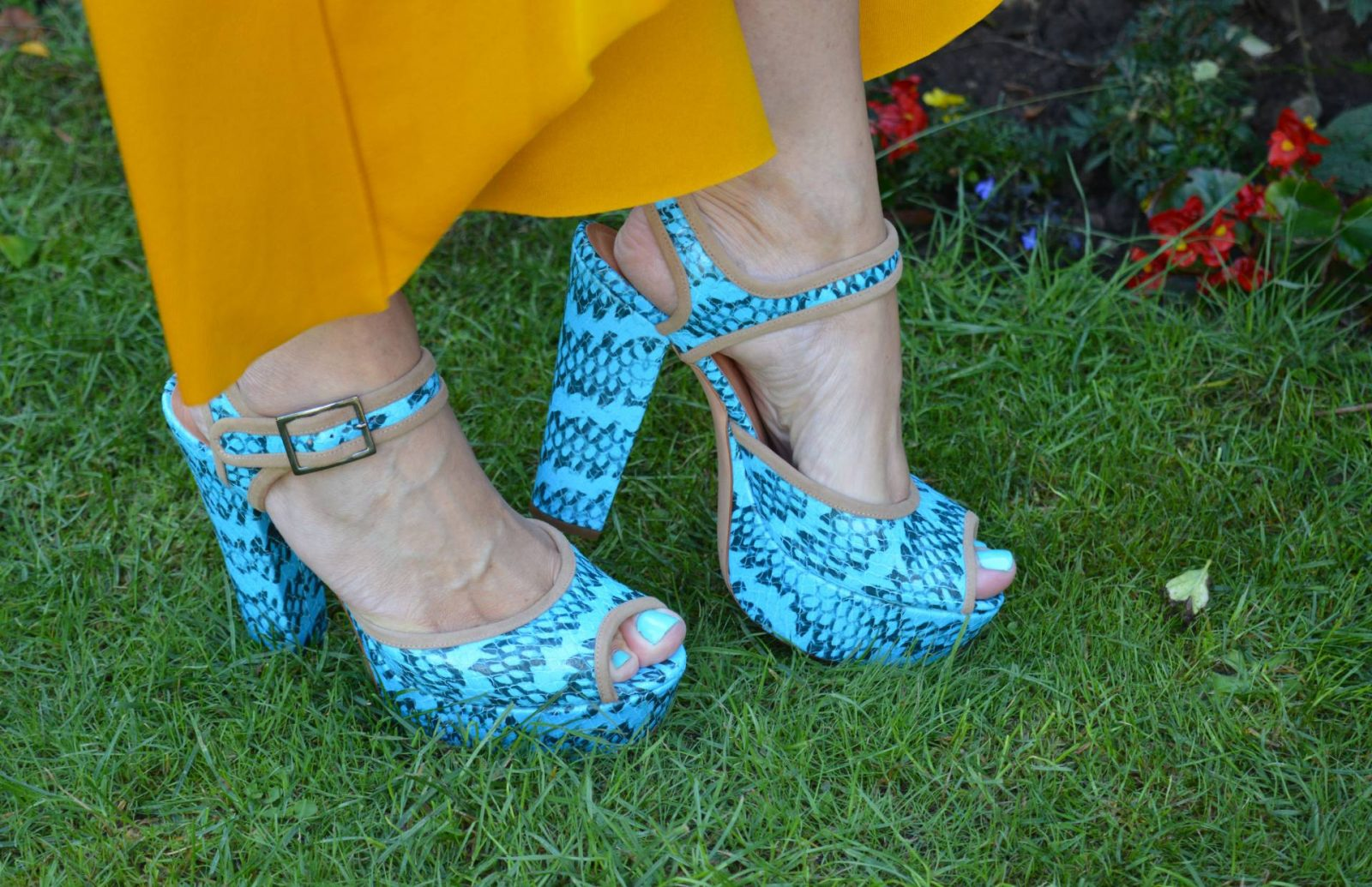 Zara Mustard co-ord with turquoise accessories, Biba turquoise platform sandals