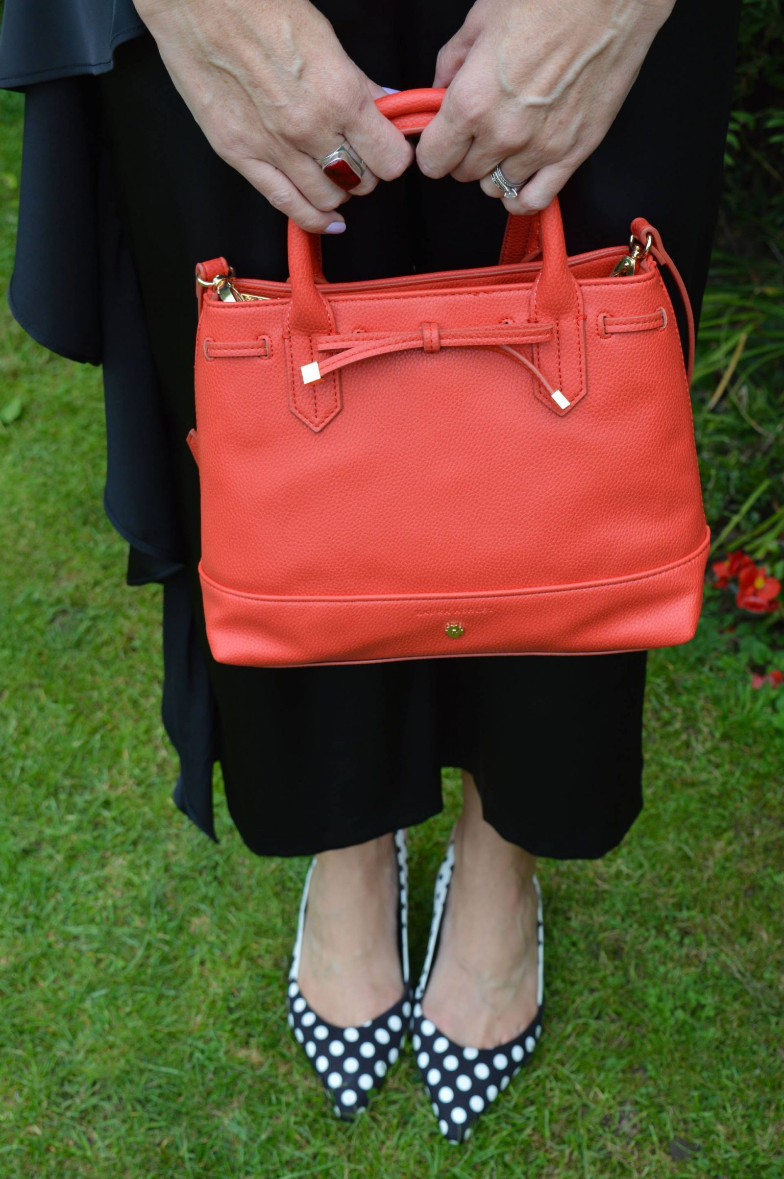 Laura Ashley orange grab bag, Marks & Spencer polka dot slingback shoes