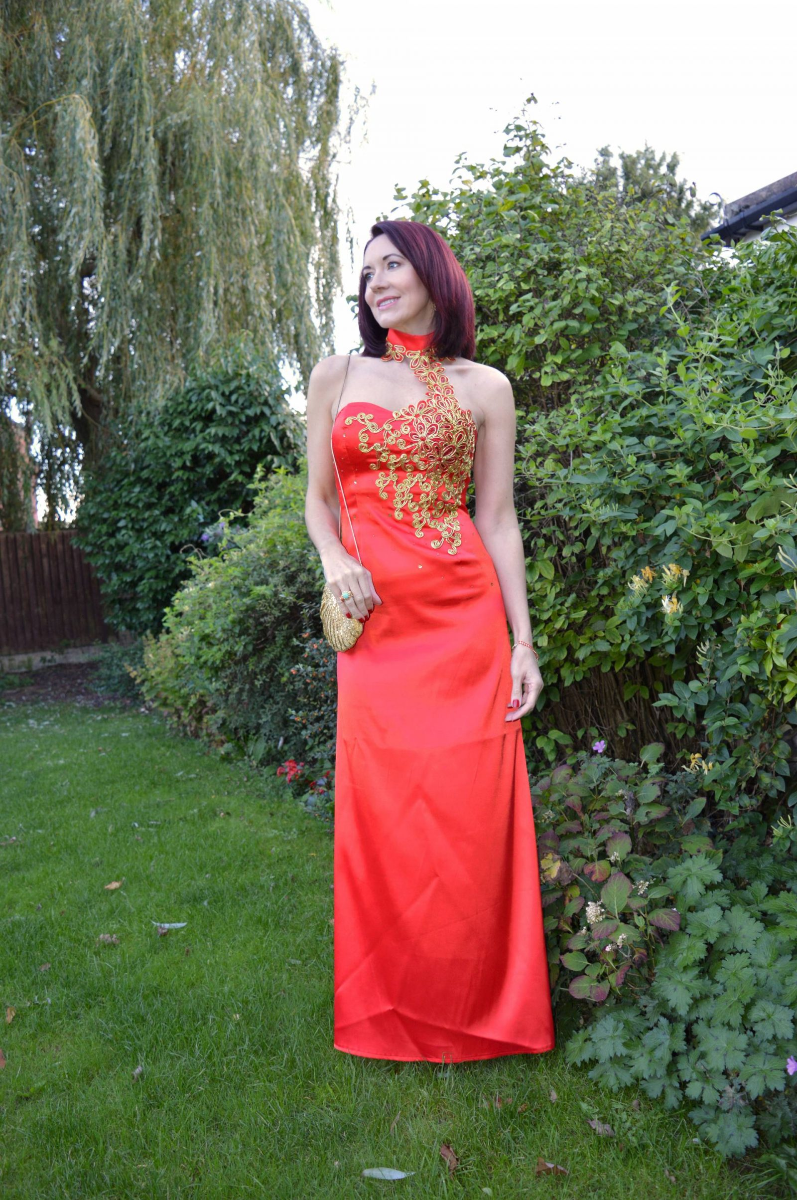 Life's a Ball for the Style Not Age collective, red and gold embroidered dress
