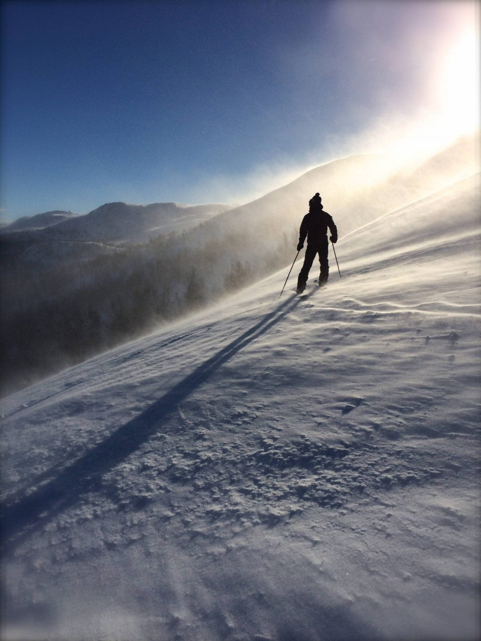 Tips for keeping fit in Winter, person skiing