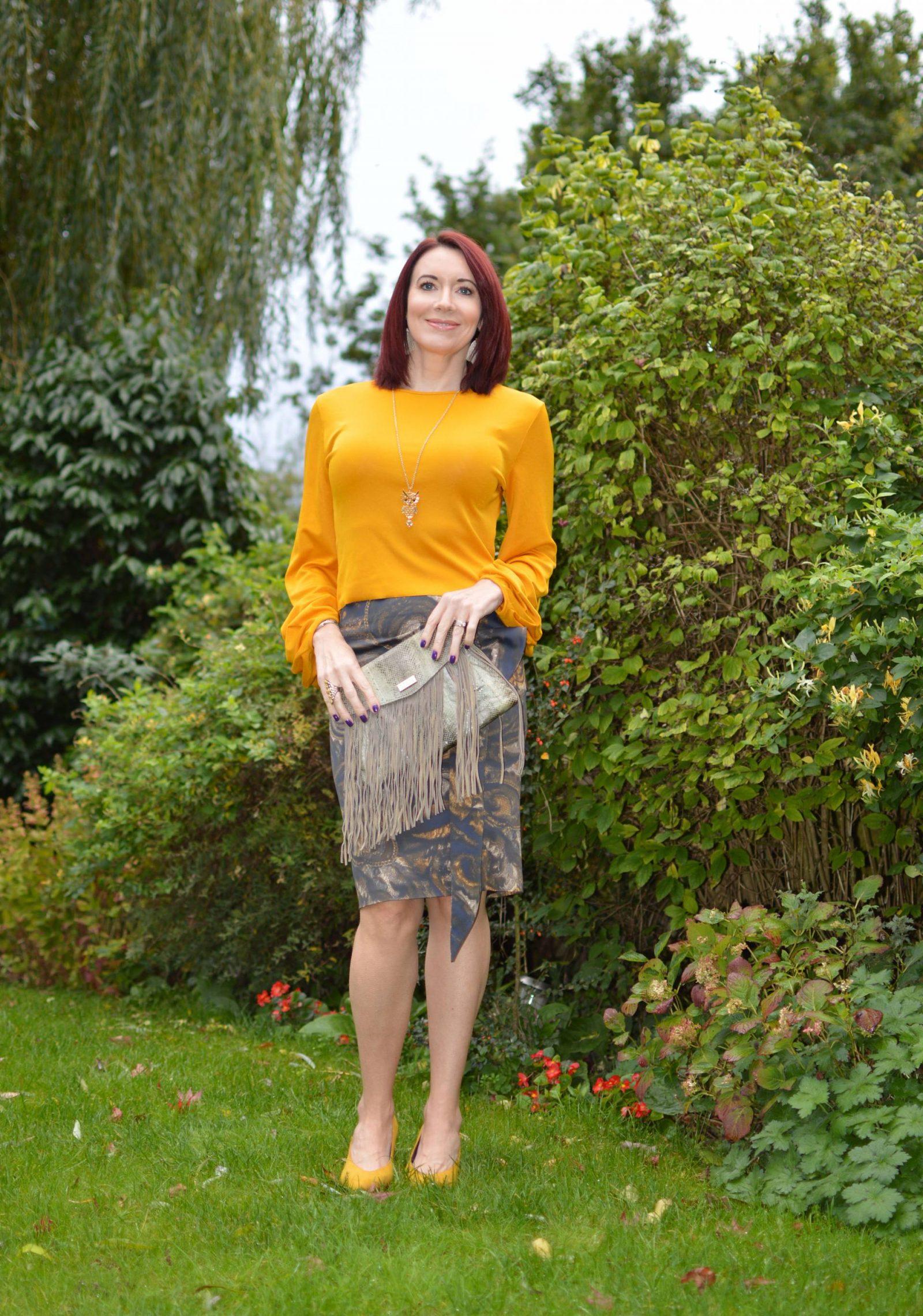 Karen Millen Frill skirt and Zara mustard top, Angel Jackson fringed bag