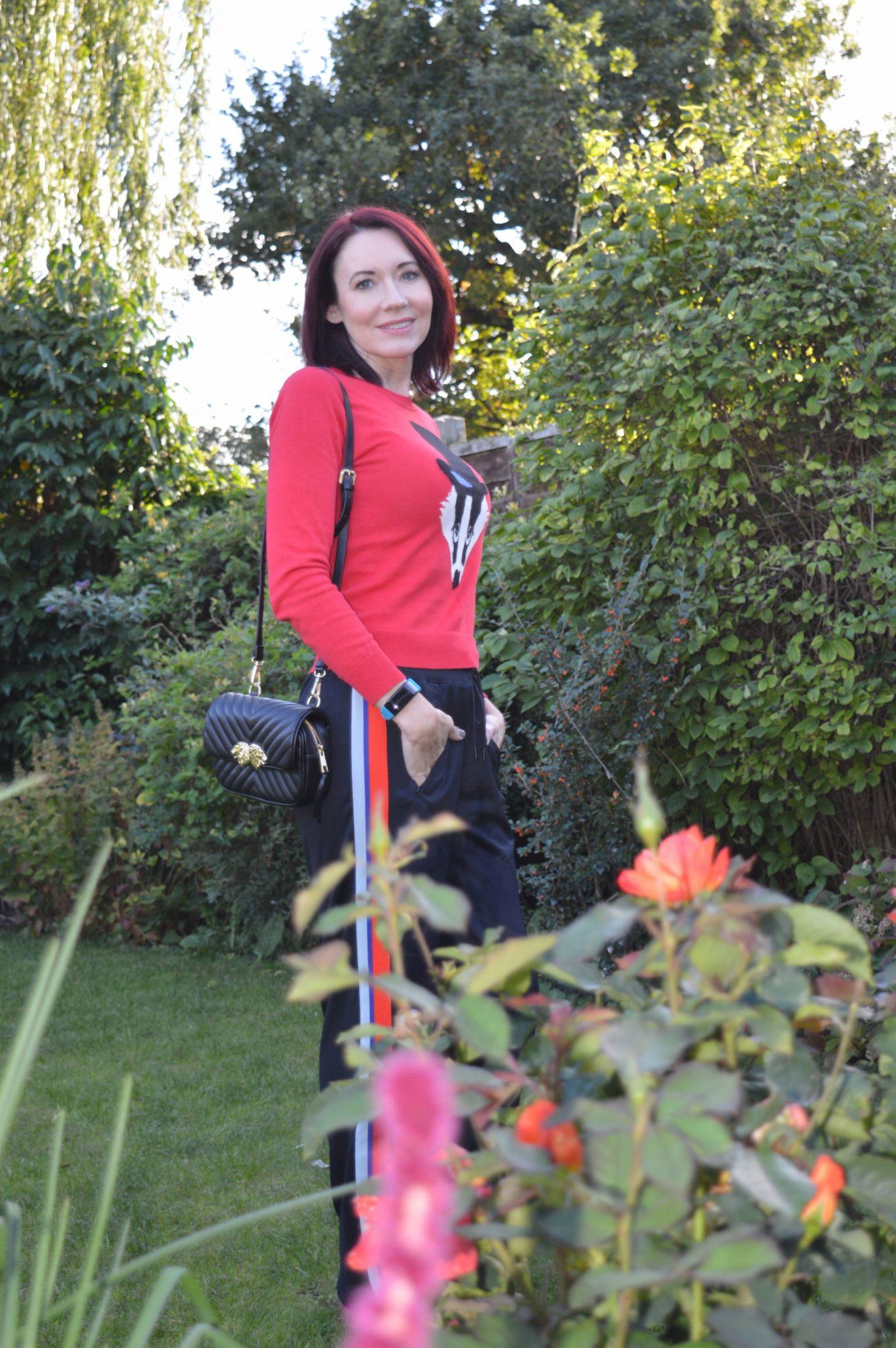 Dressing for comfort in athleisure, black Zara beltbag, badger sweater