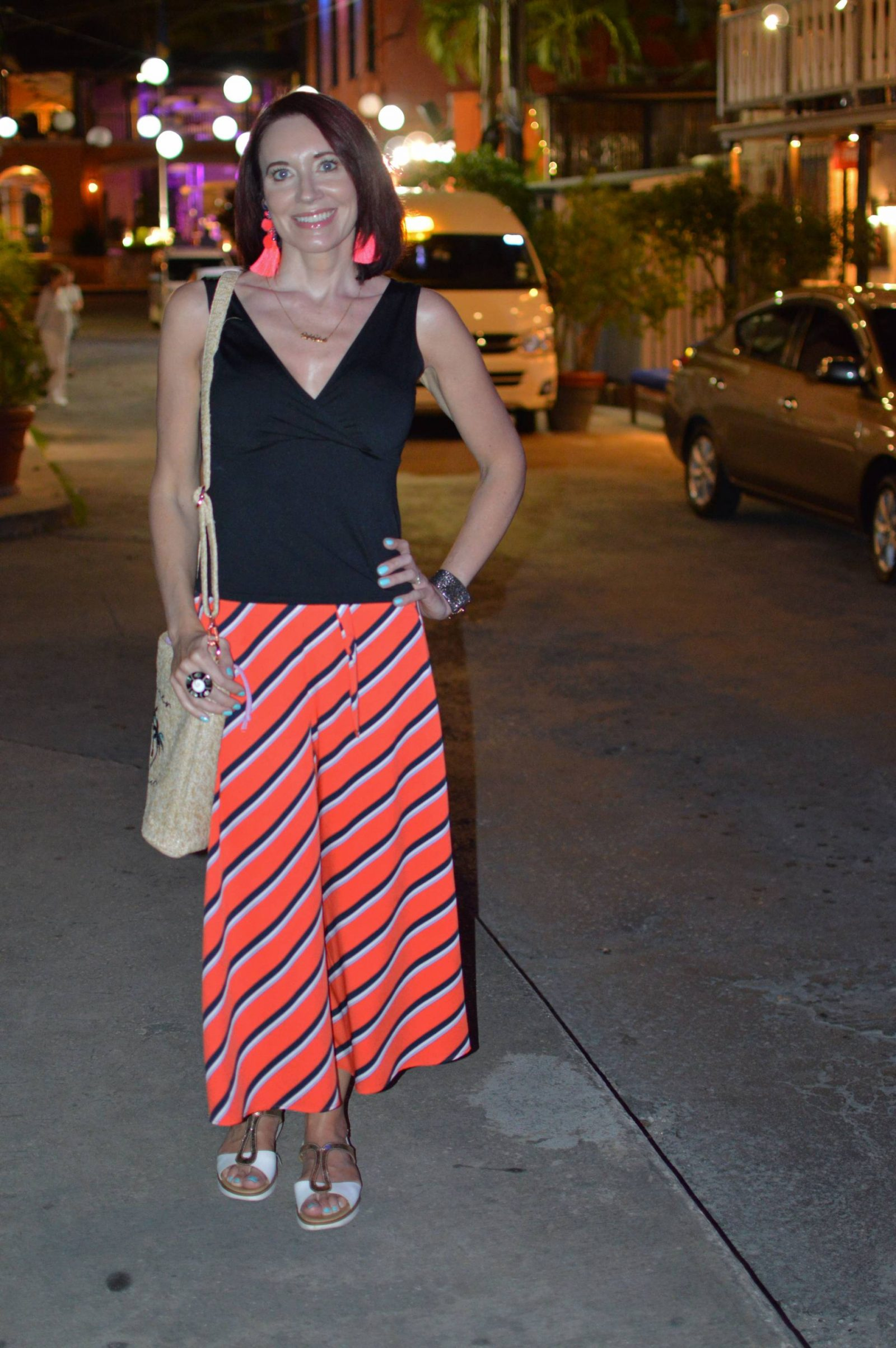 Striped culottes with a simple black vest