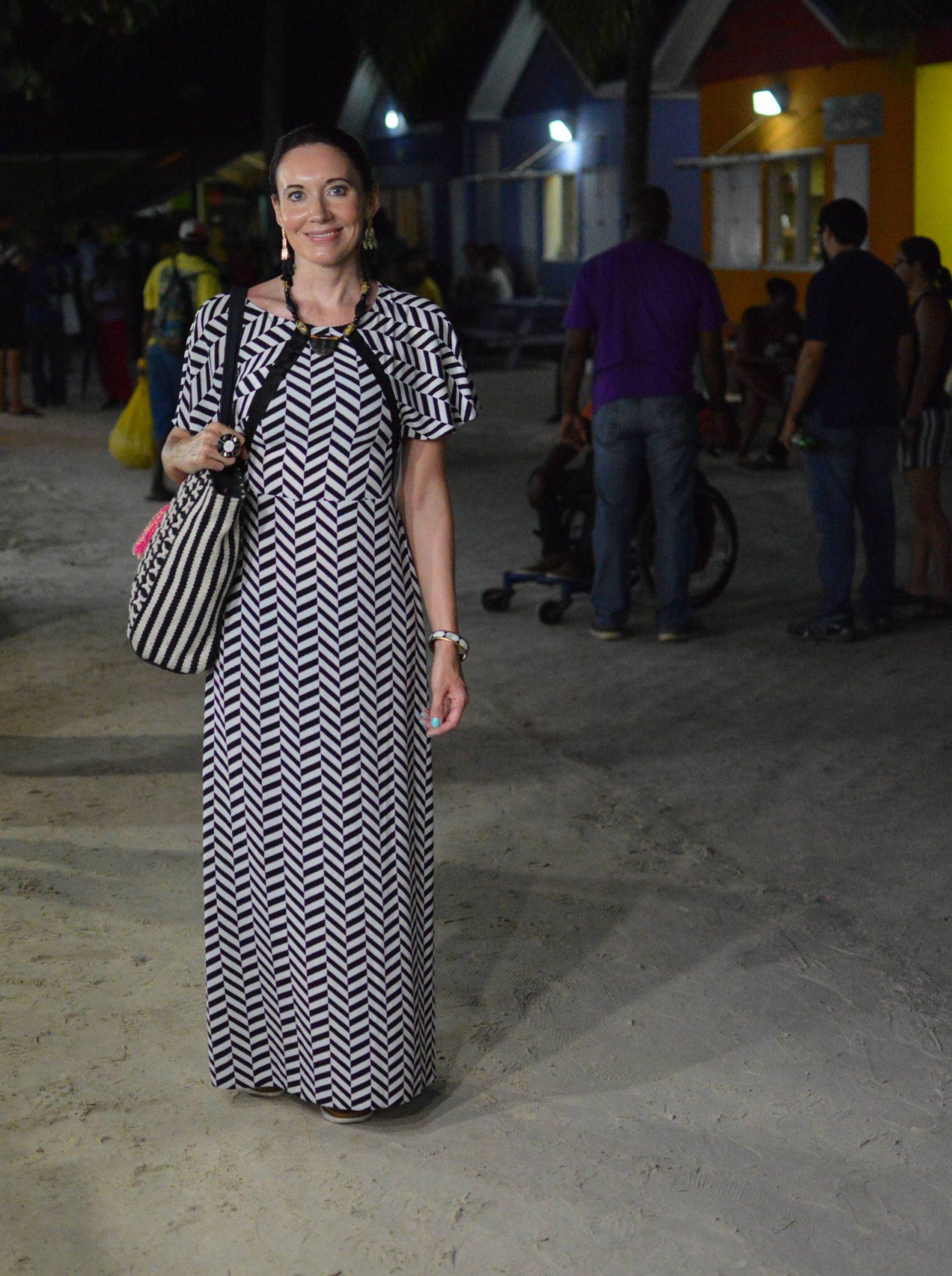 Herringbone print maxi dress