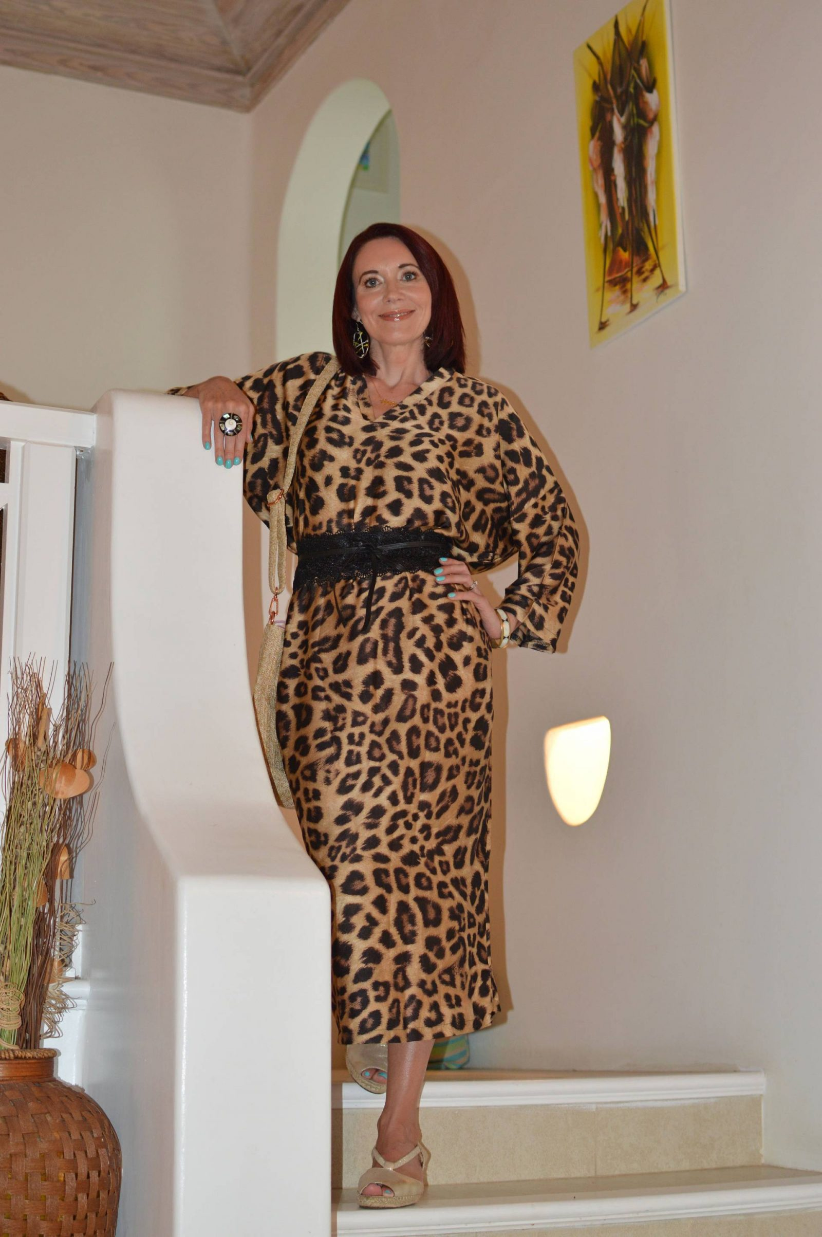 Eva Trends leopard print maxi dress & Messages in Metal personalized necklace