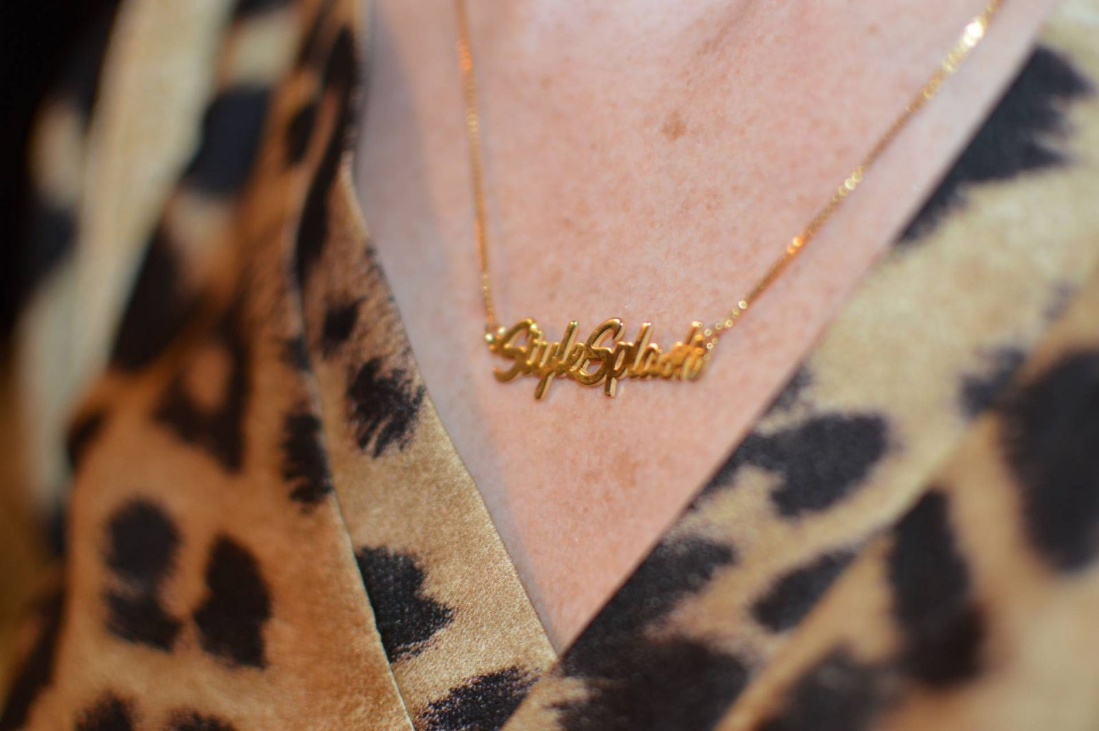 Eva Trends leopard print maxi dress, Messages in Metal personalised necklace
