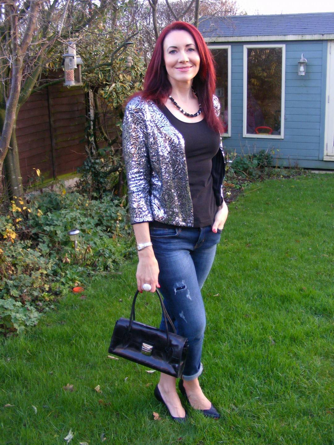 December Party Outfit Ideas, sequin jacket