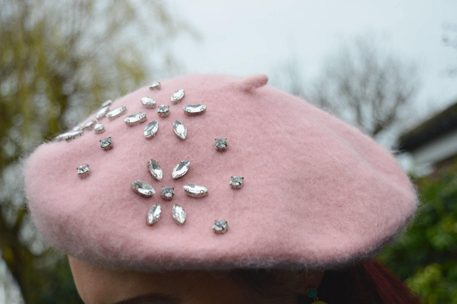 pink jewelled beret