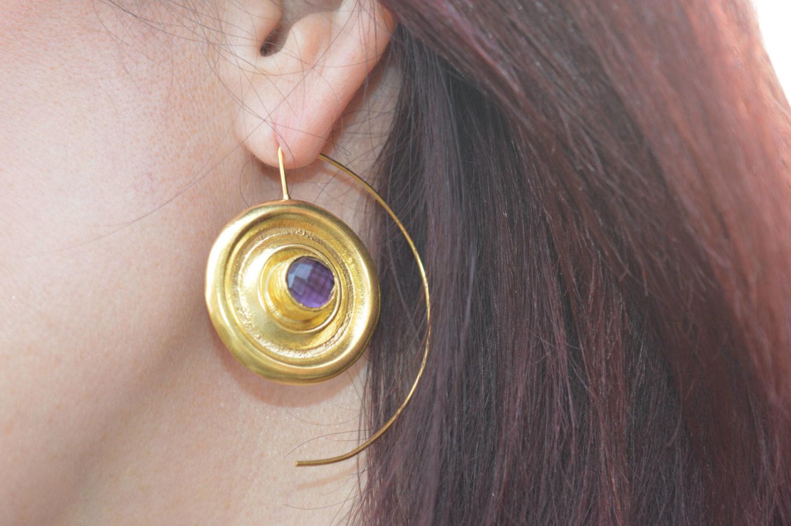 Ottoman Hands Vinyl amethyst Wire Through Earrings