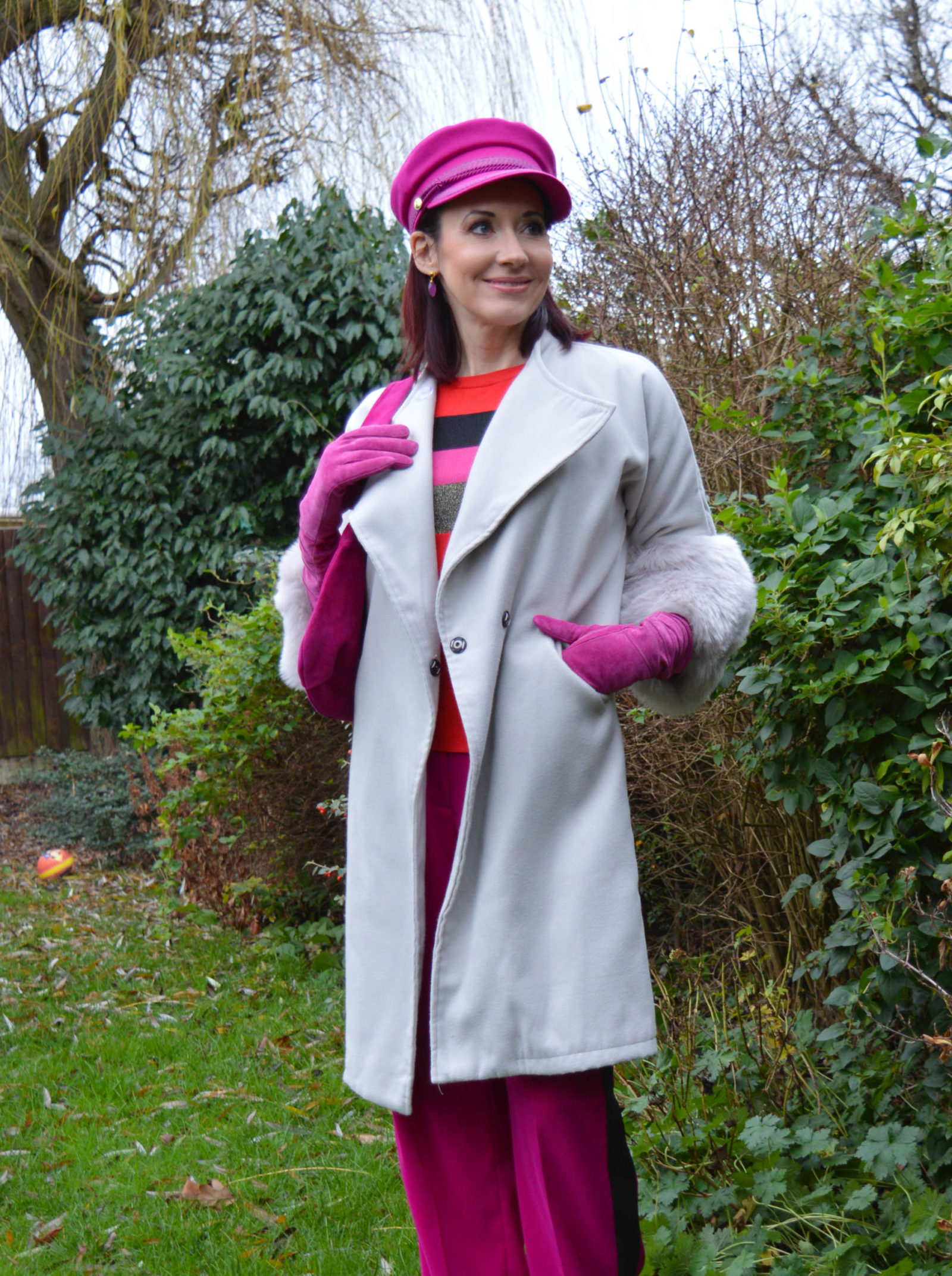 Fabienne Chapot pink hat and grey faux fur trim coat, L.K Bennett pink bag, Finery pink trousers