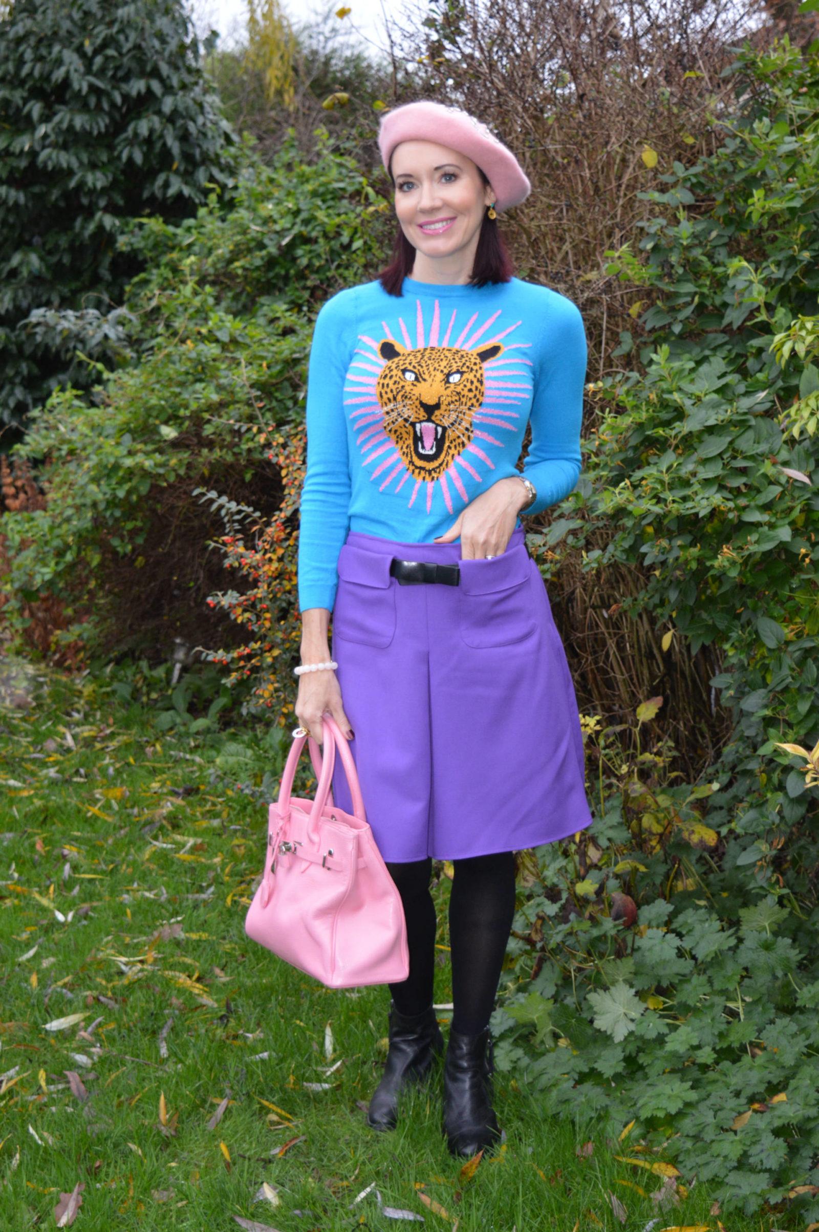 Monki jaguar jumper and purple A line skirt