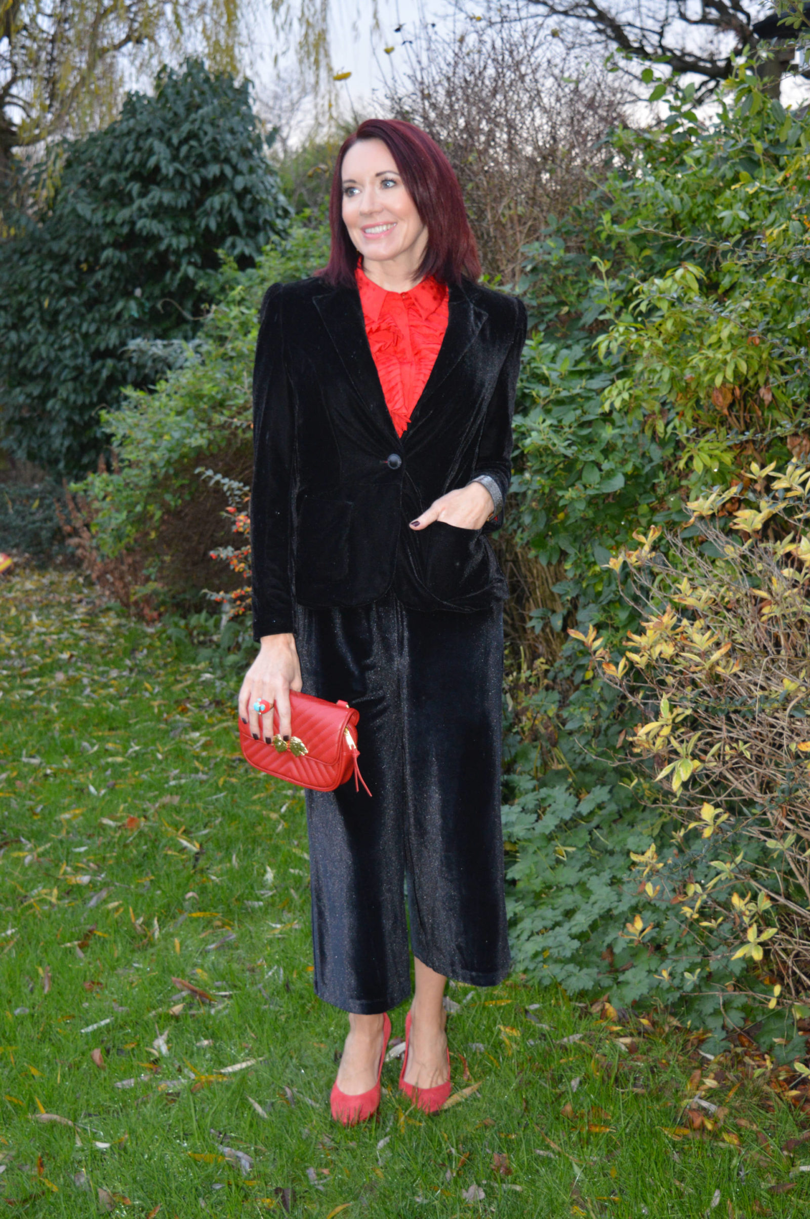 Black velvet jacket and culottes, & Other Stories red frill blouse