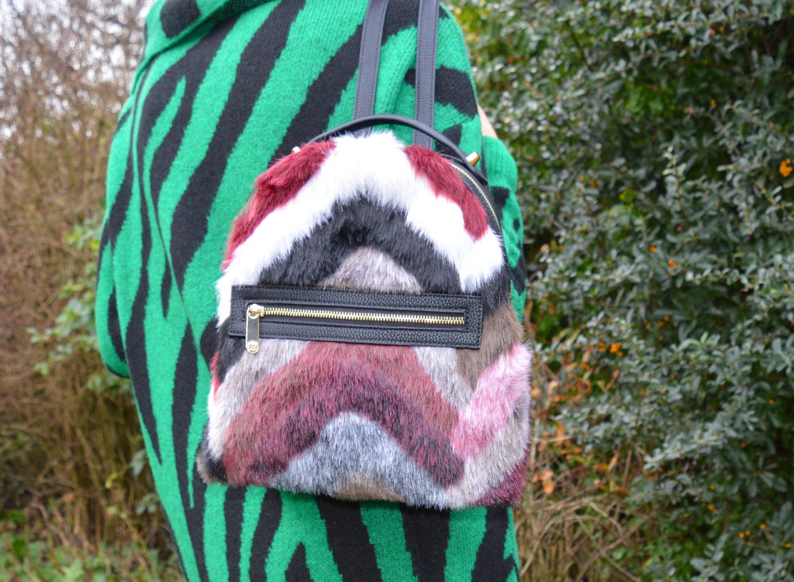 Bonmarche Green zebra print tunic jumper, faux fur backpack