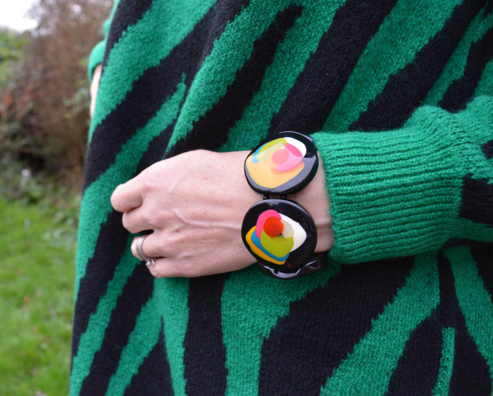 Bonmarche Green zebra print tunic jumper