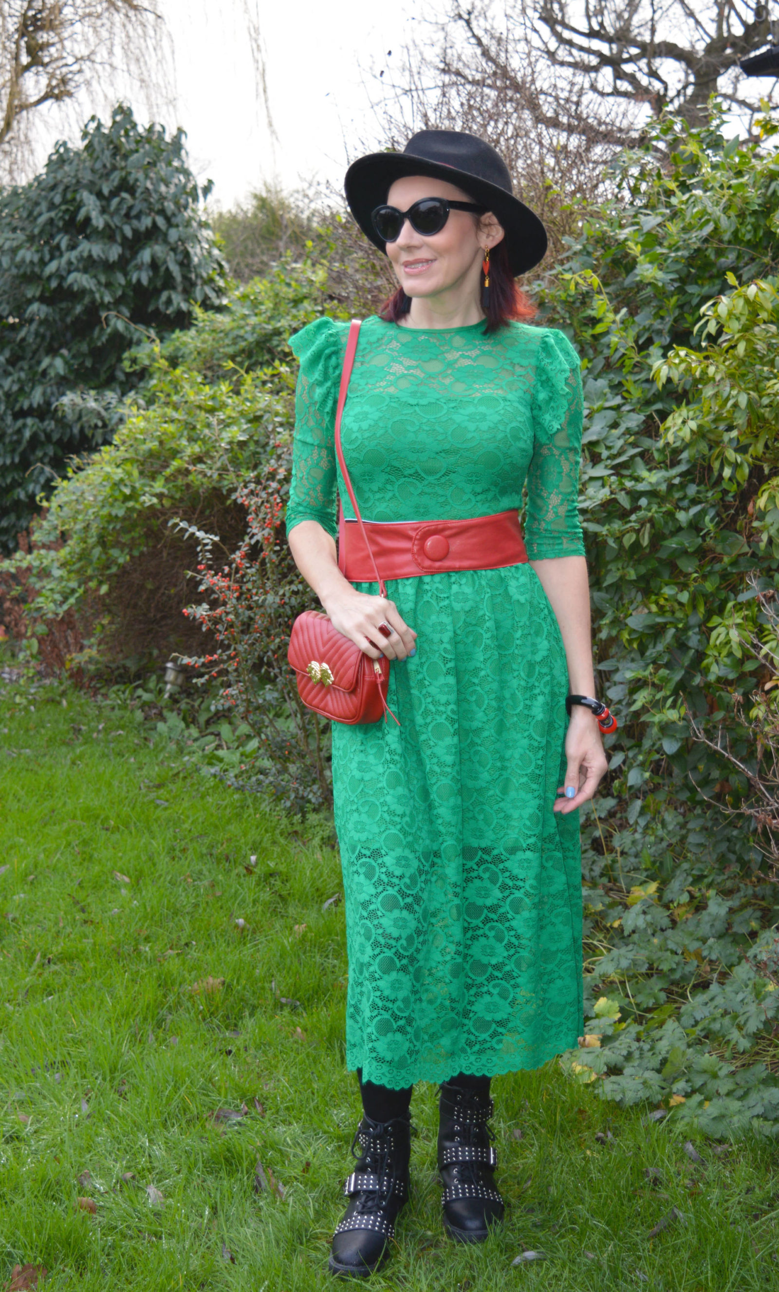 Asos Green Lace Midi Dress With Biker Boots