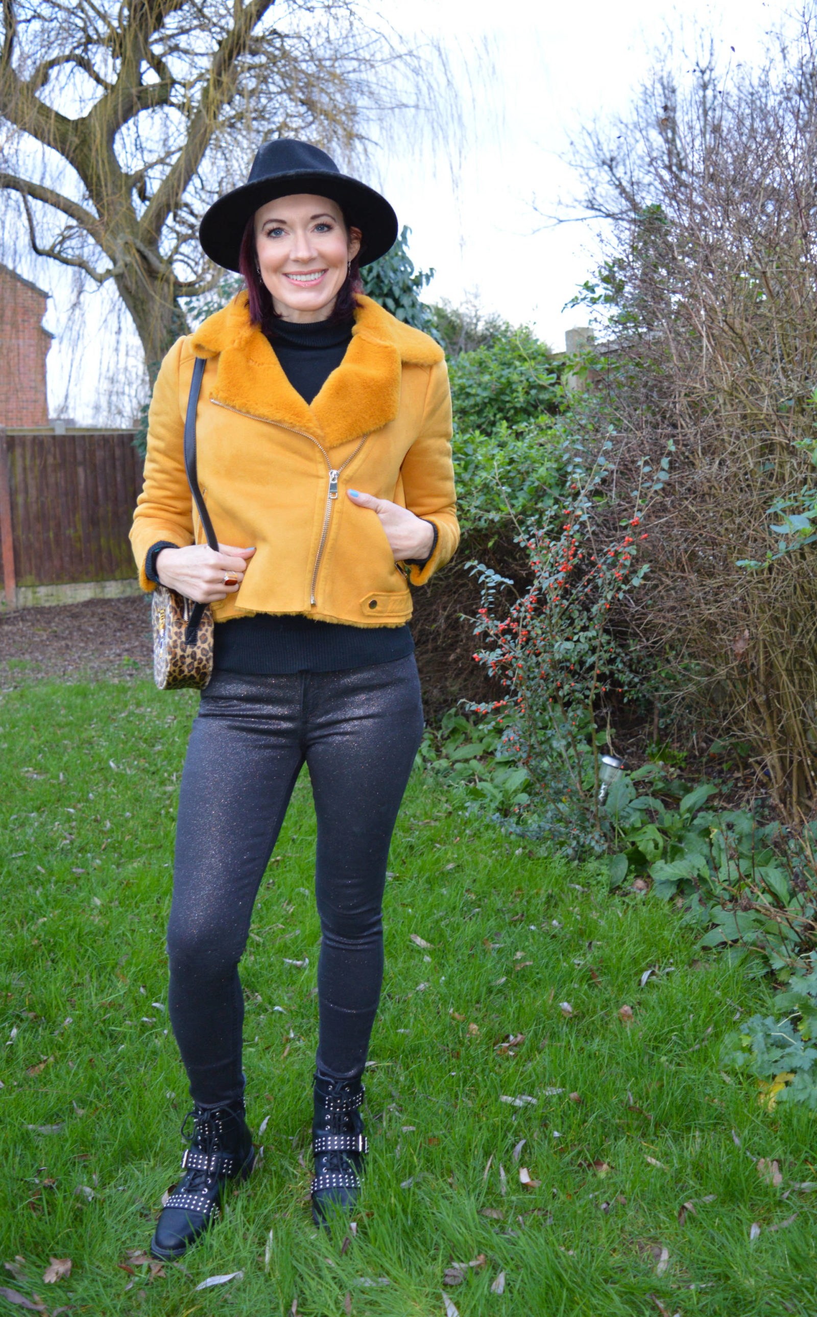 River Island mustard faux suede aviator jacket, Mango skinny glitter jeans