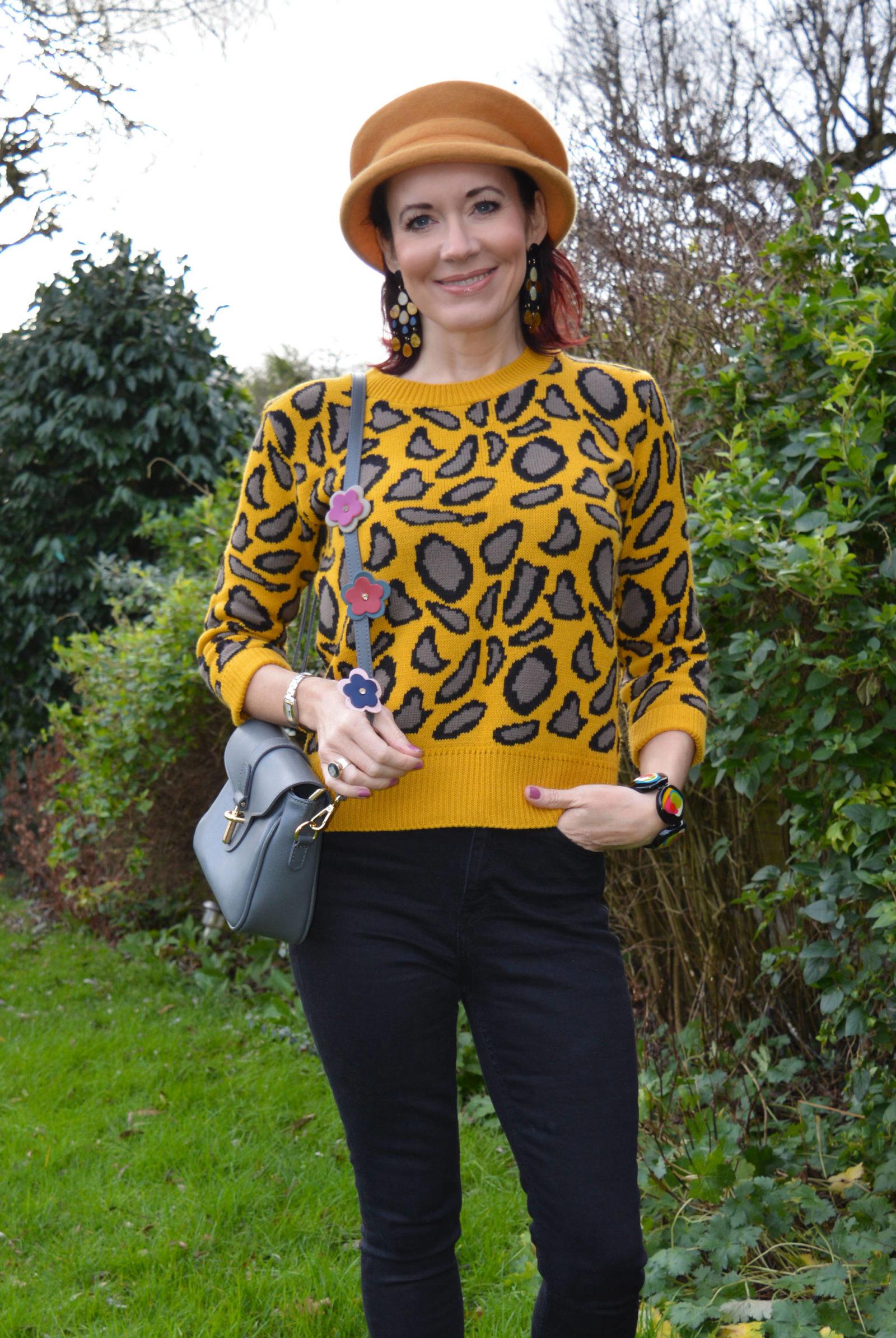 January Jumpers, mustard leopard print jumper, Mango black high waist jeans