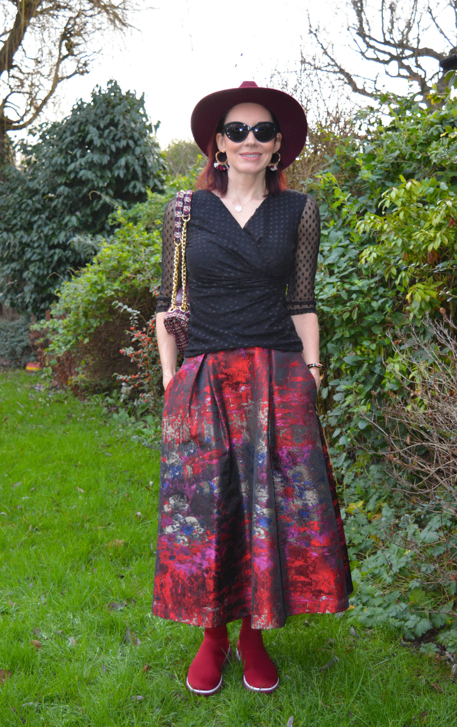 FitFlop sock boots and jacquard maxi skirt